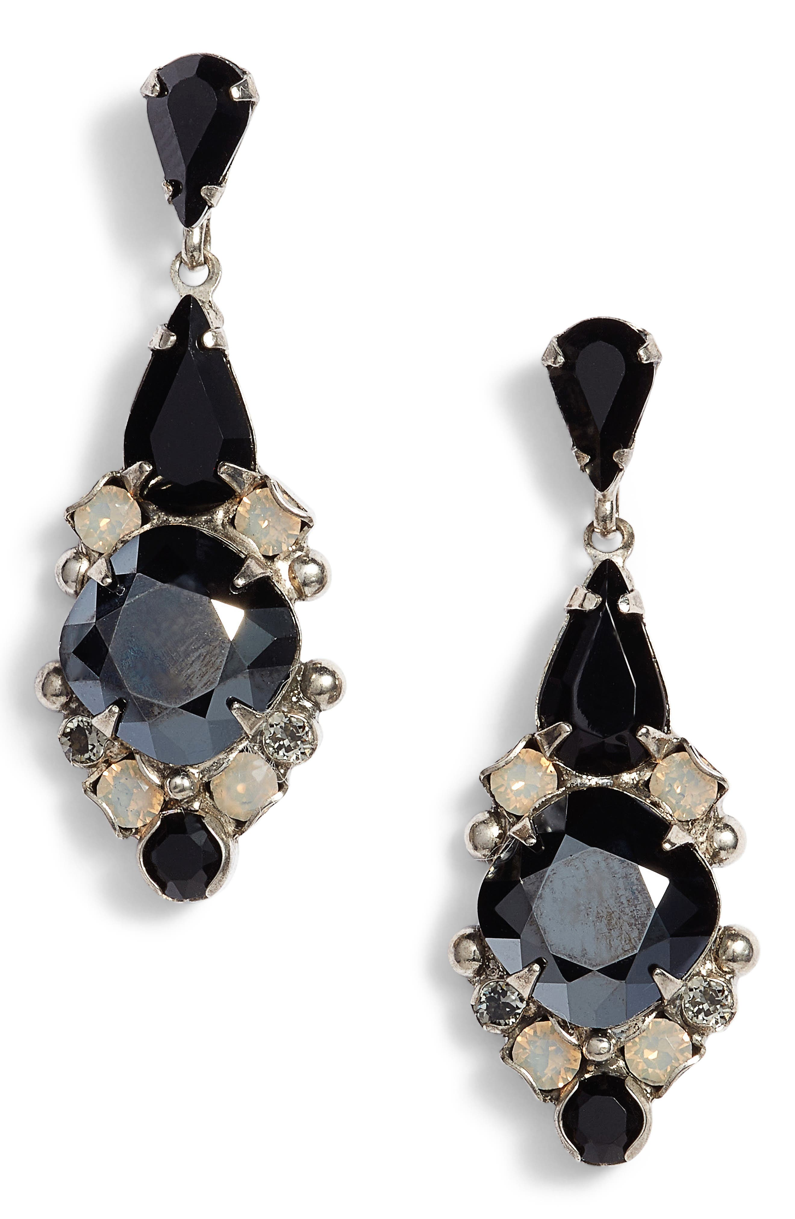 Alyssum Crystal Drop Earrings,                             Main thumbnail 1, color,                             Black