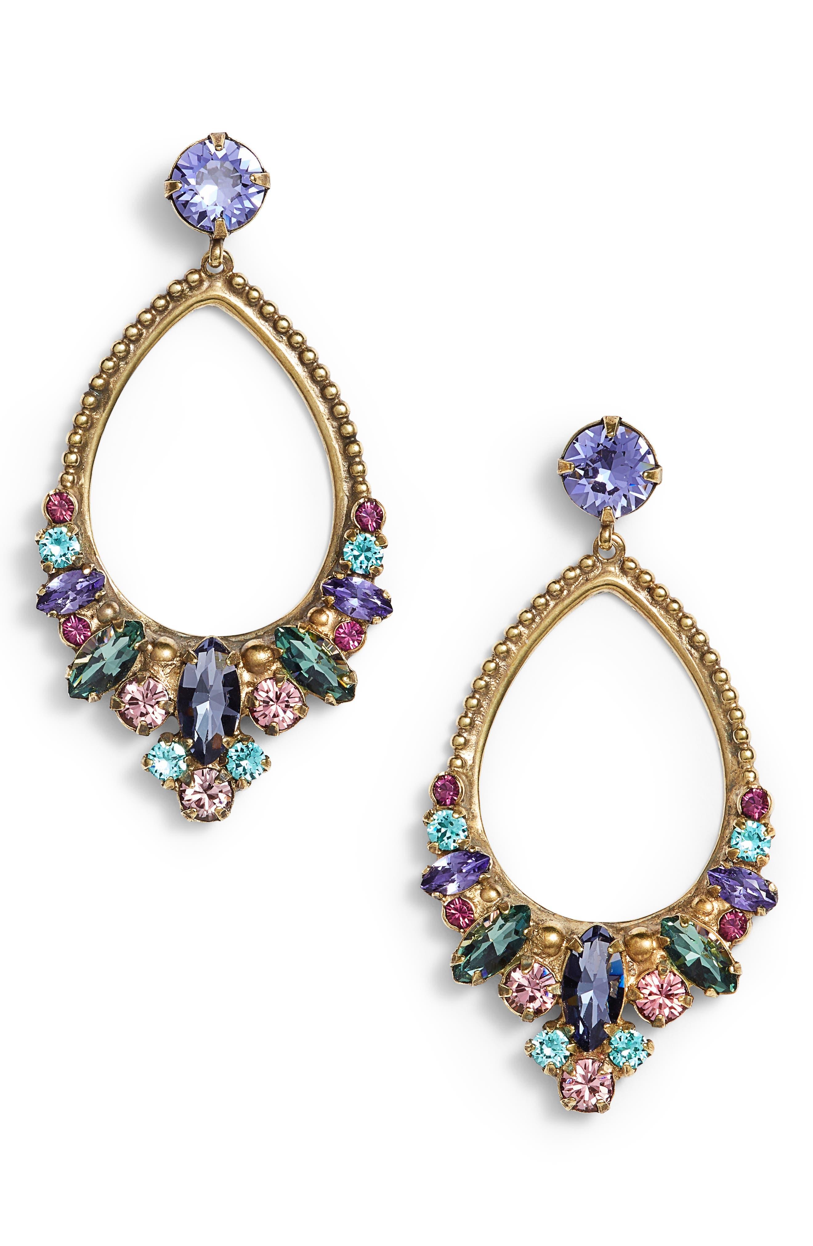 Noveau Navette Crystal Drop Earrings,                             Main thumbnail 1, color,                             Multi