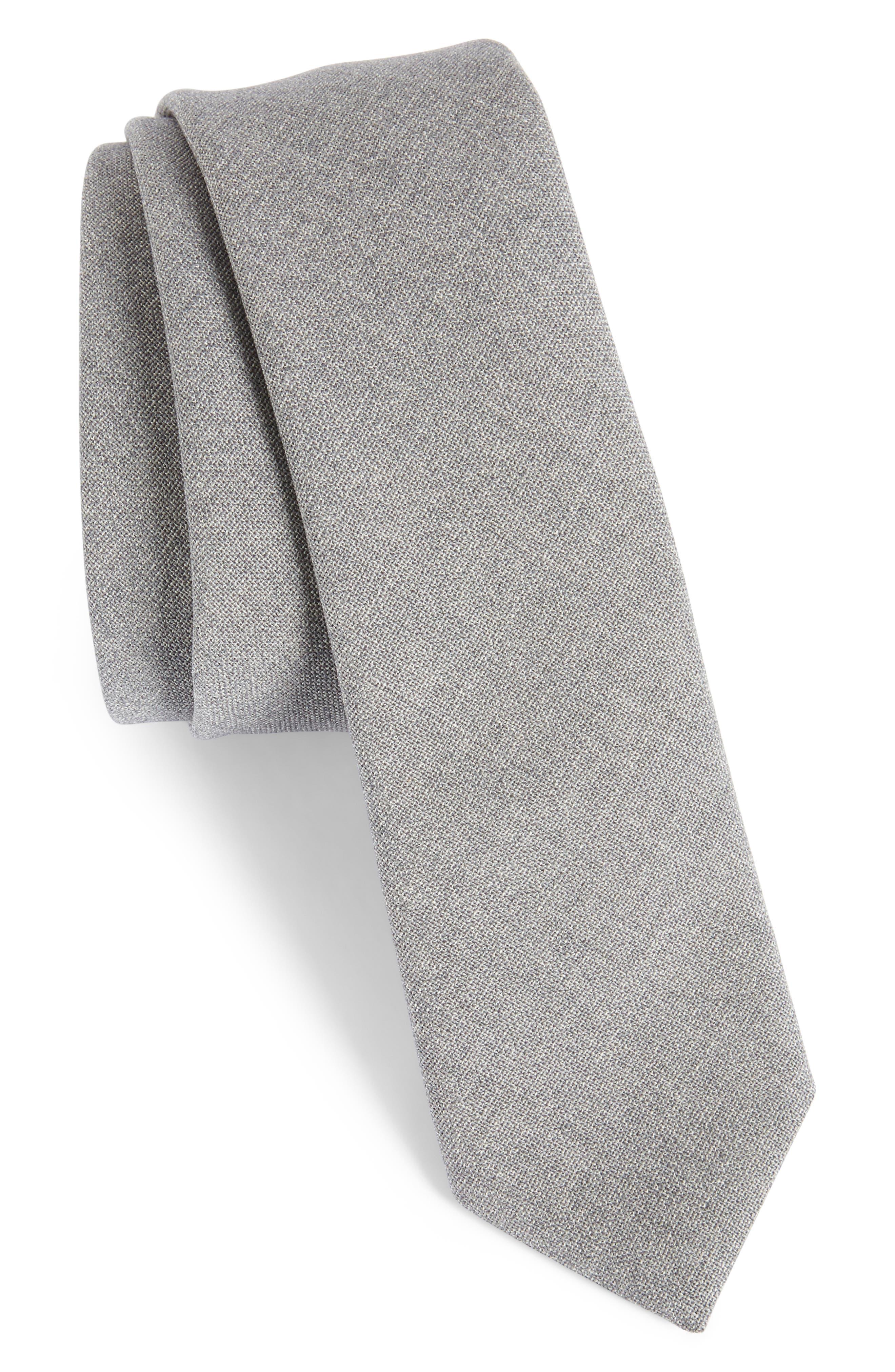 Jaspé Wool Skinny Tie,                             Main thumbnail 1, color,                             Pearl Grey