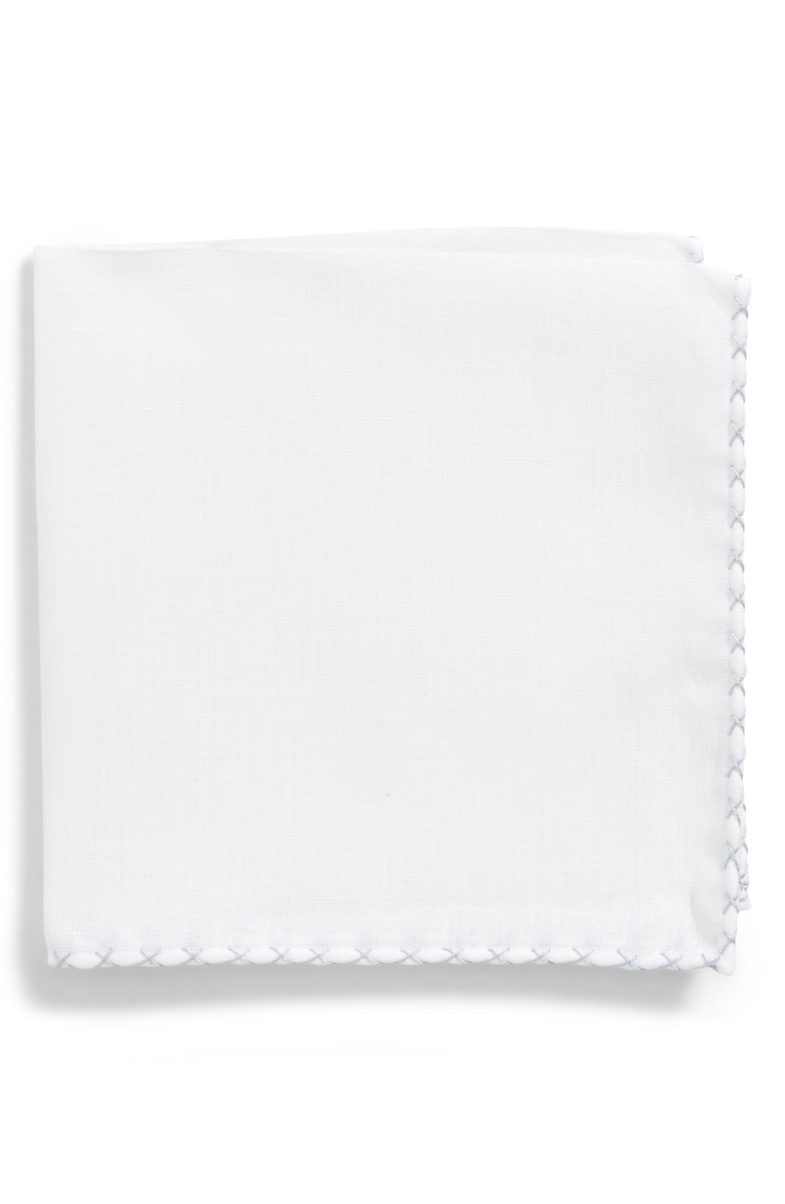 Solid Linen Pocket Square,                         Main,                         color, White/ Stone