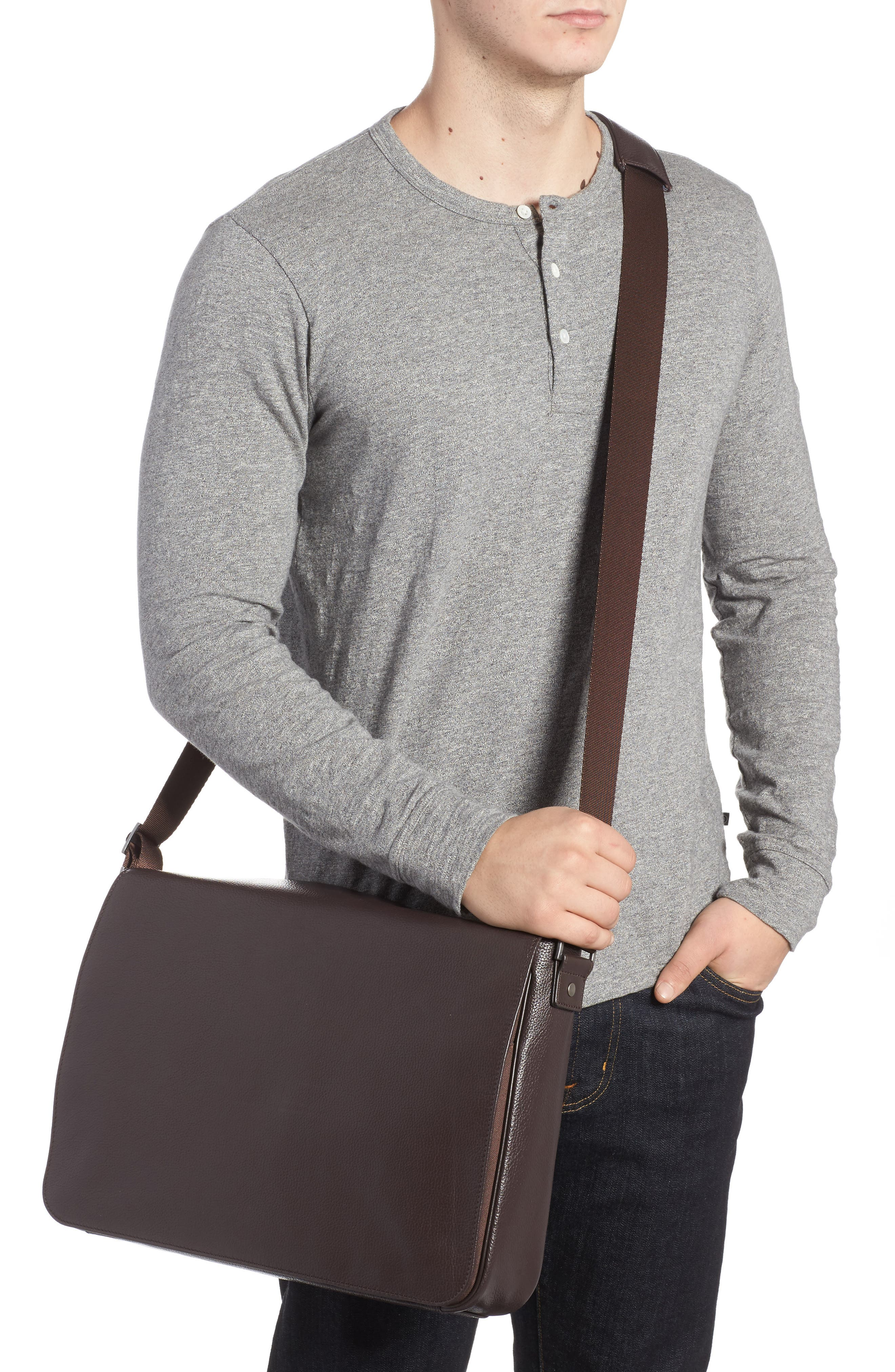 Midland Leather Messenger Bag,                             Alternate thumbnail 2, color,                             Brown