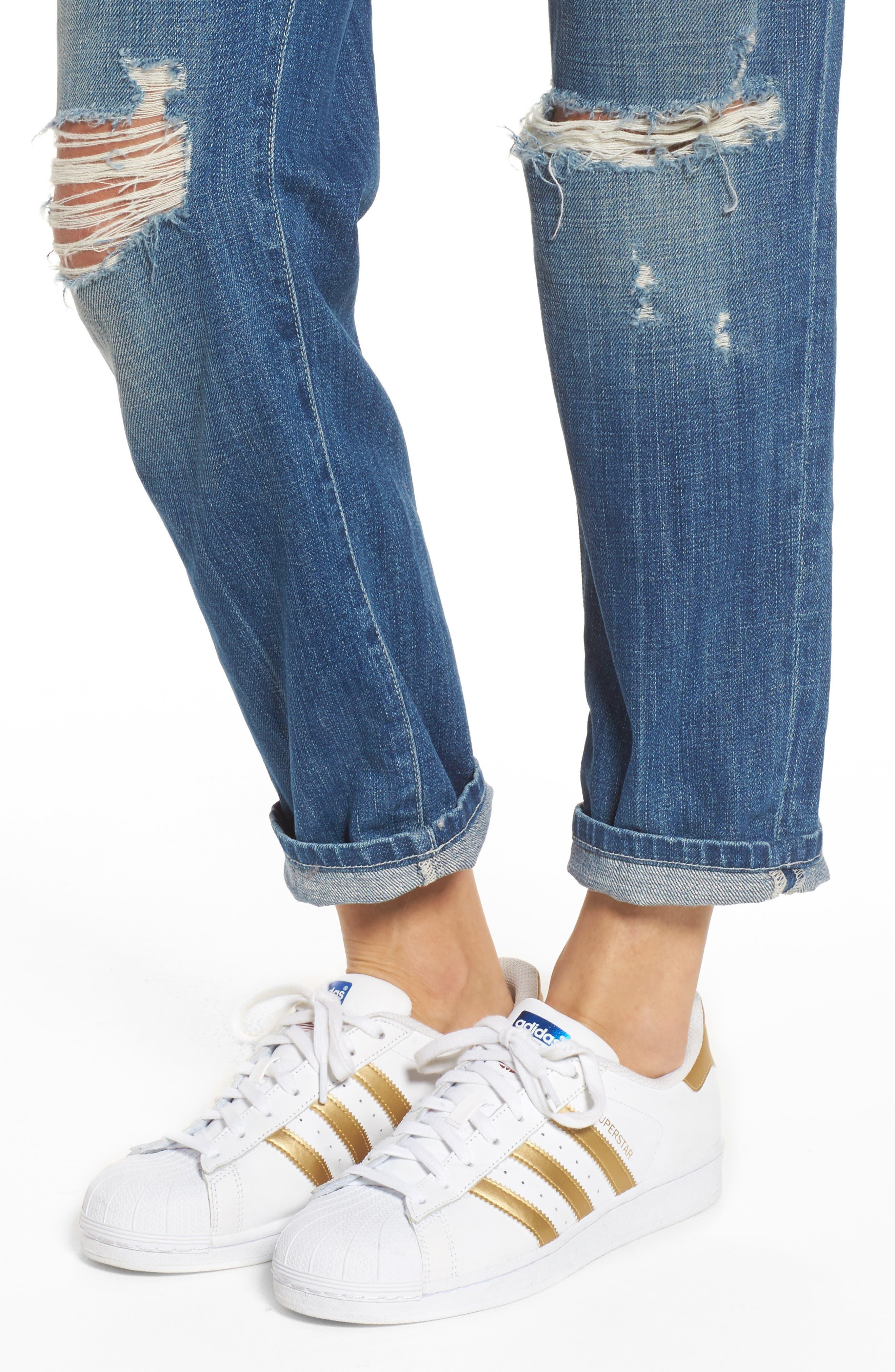 The Fling Boyfriend Jeans,                             Alternate thumbnail 4, color,                             Isley Destroy