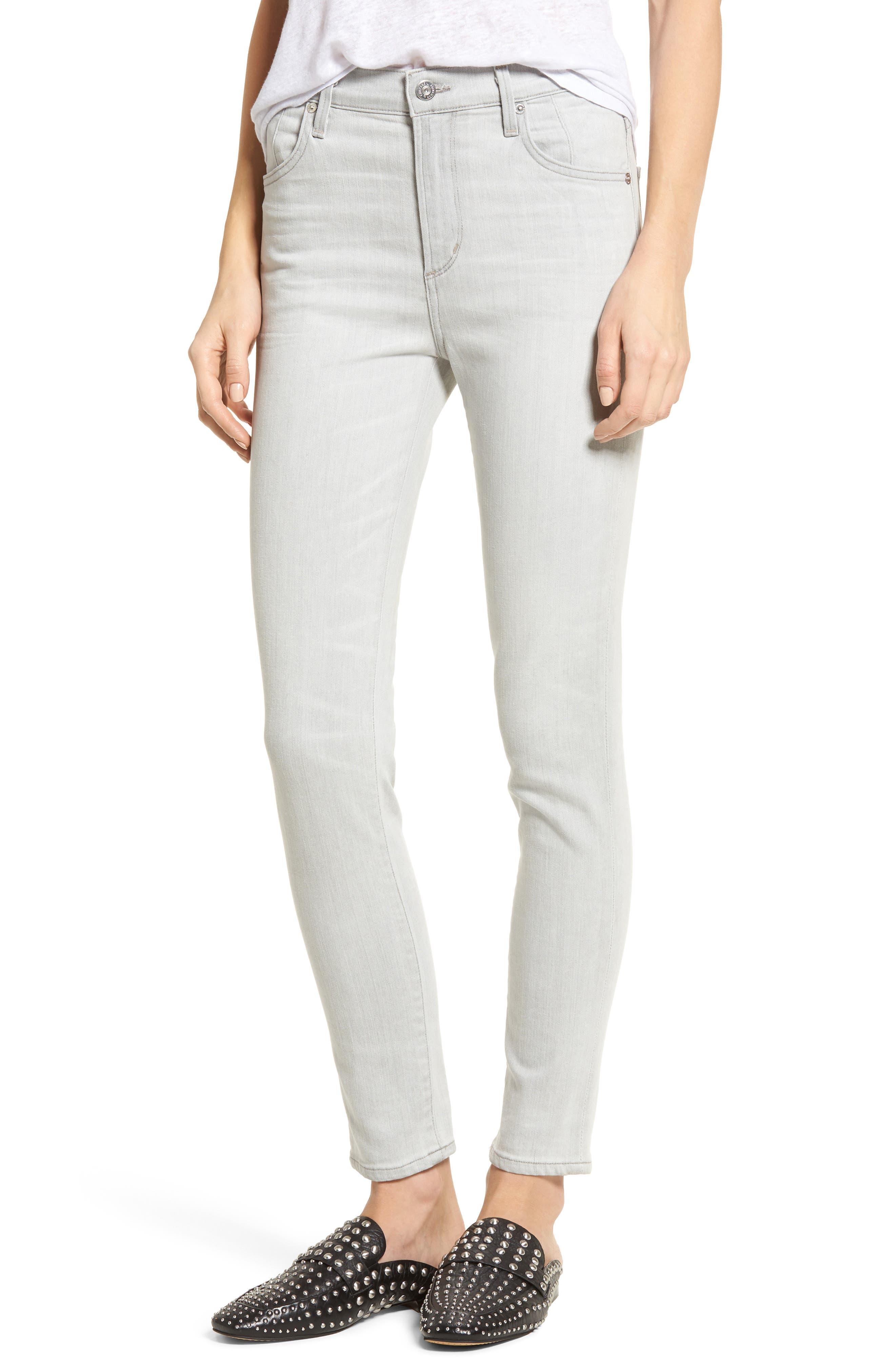 Carlie High Waist Ankle Skinny Jeans,                         Main,                         color, Greystone
