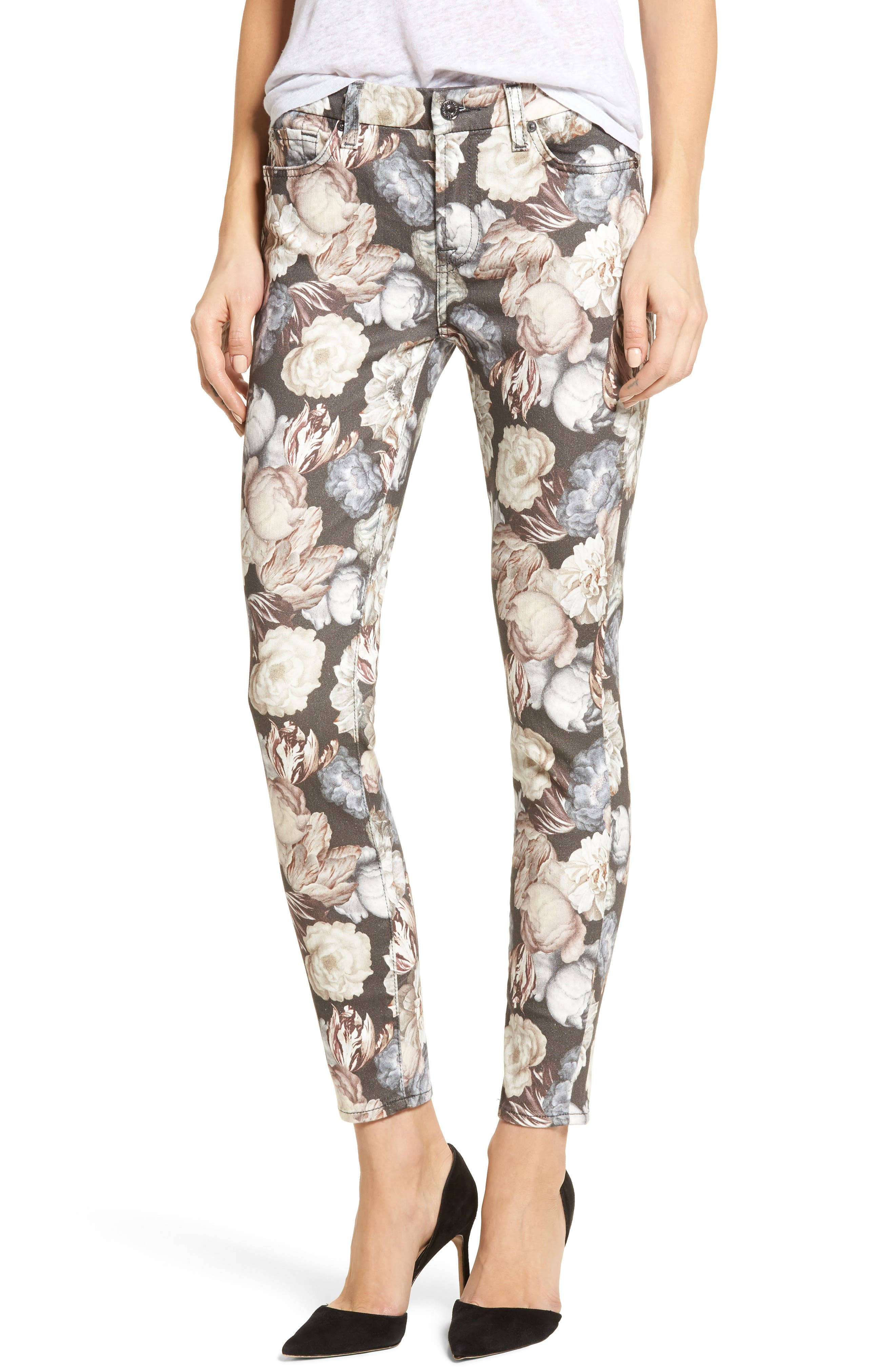 Main Image - 7 For All Mankind® The Ankle Skinny Jeans (Amsterdam Floral)