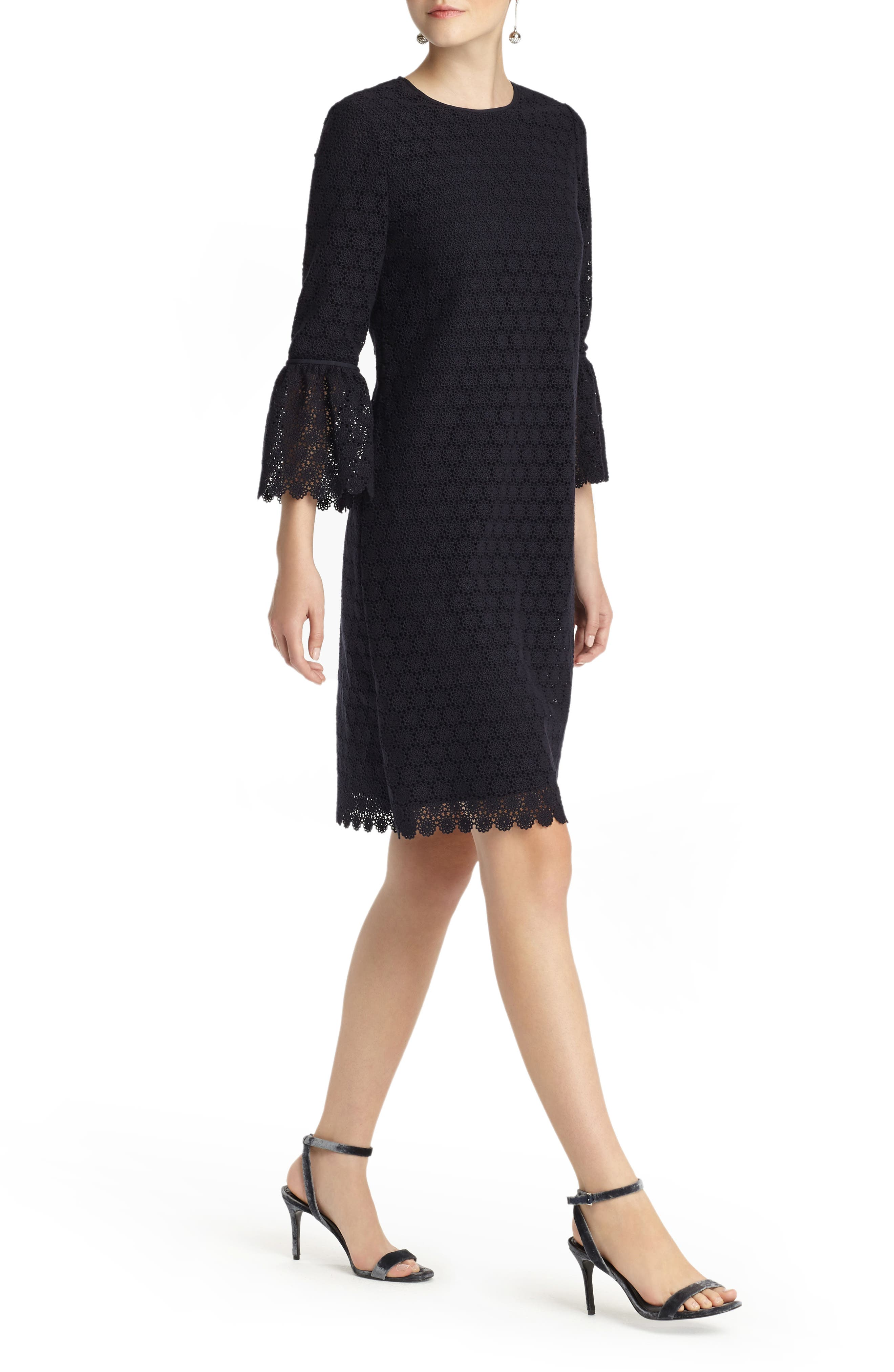 Sidra Bell Sleeve Lace Dress,                             Alternate thumbnail 3, color,                             Ink
