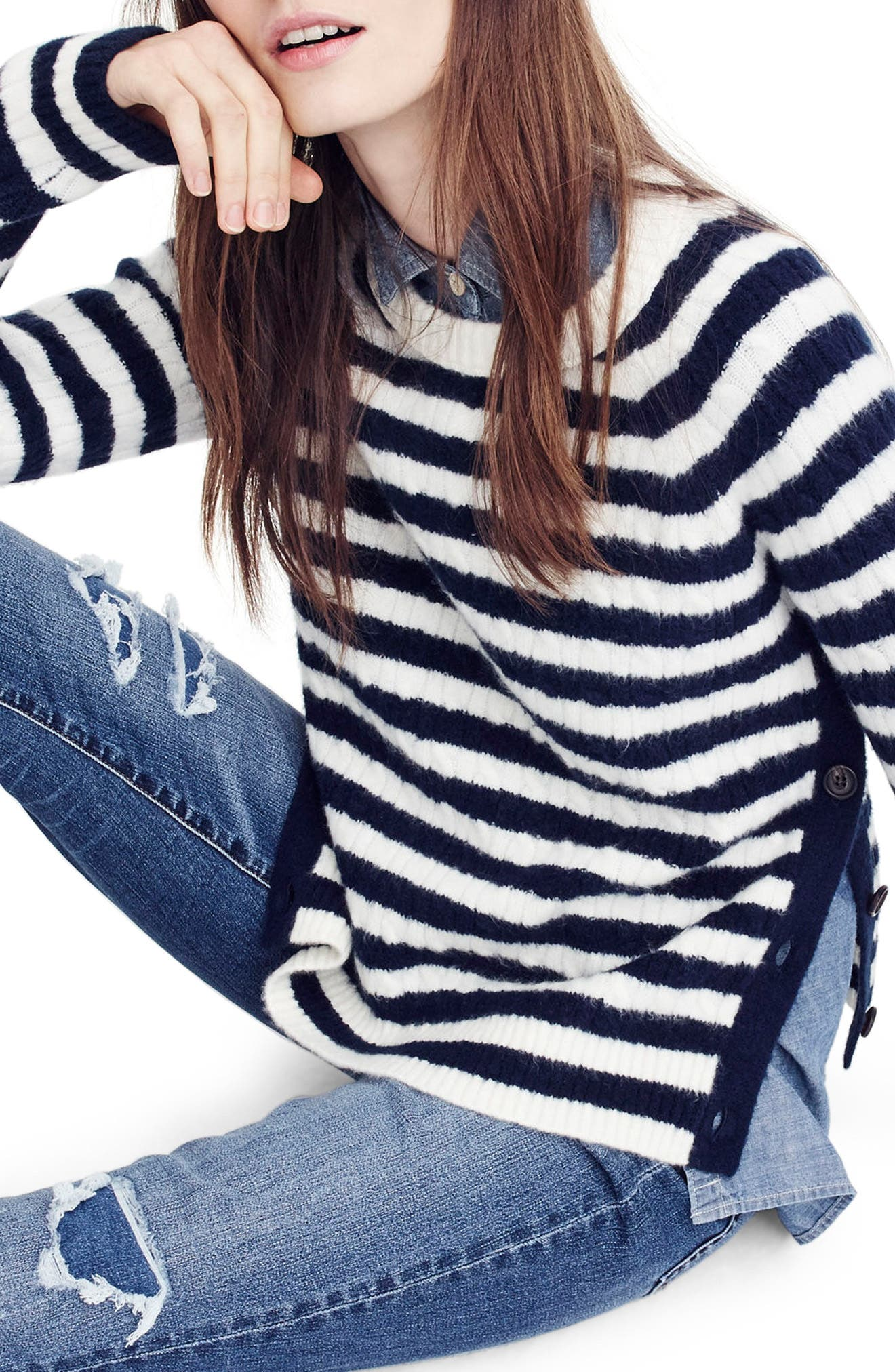 Main Image - J.Crew Stripe Cable Knit Sweater with Buttons