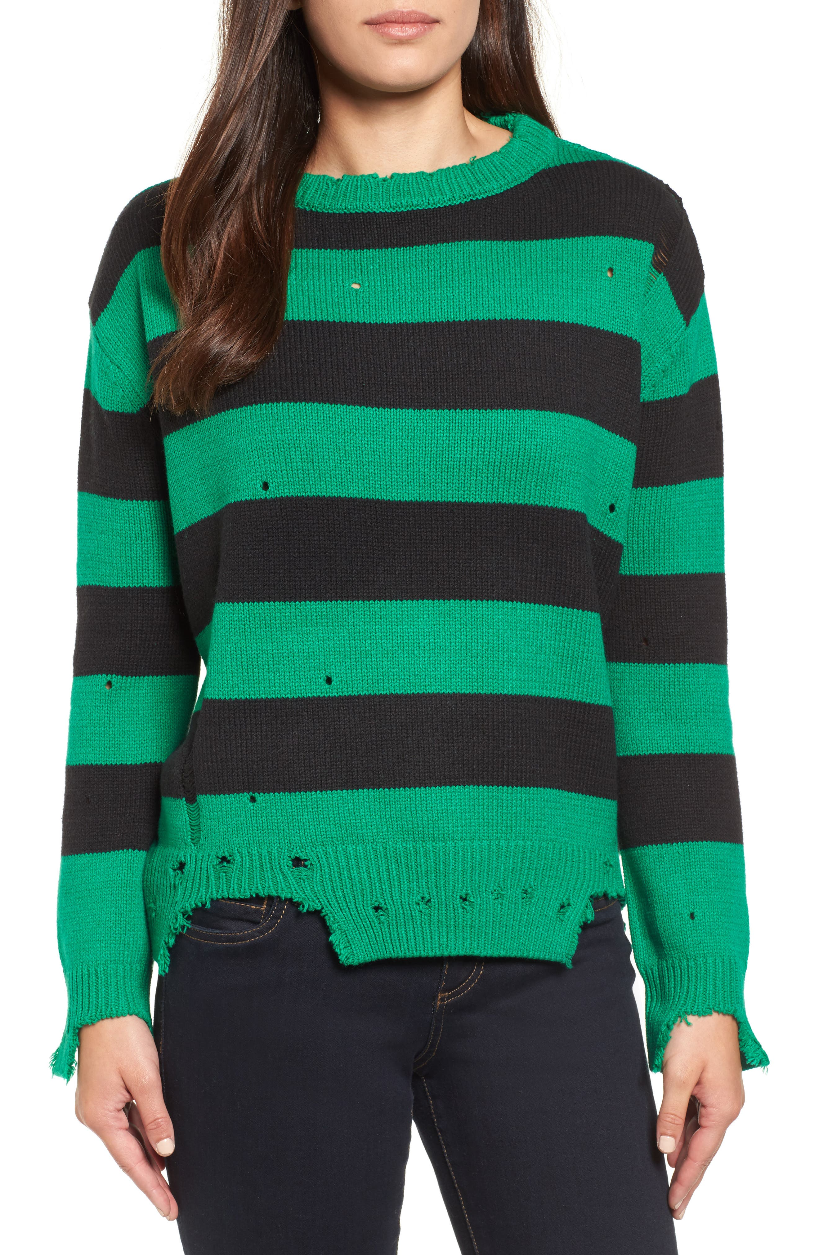 Destroyed Stripe Sweater,                         Main,                         color, Green/ Black