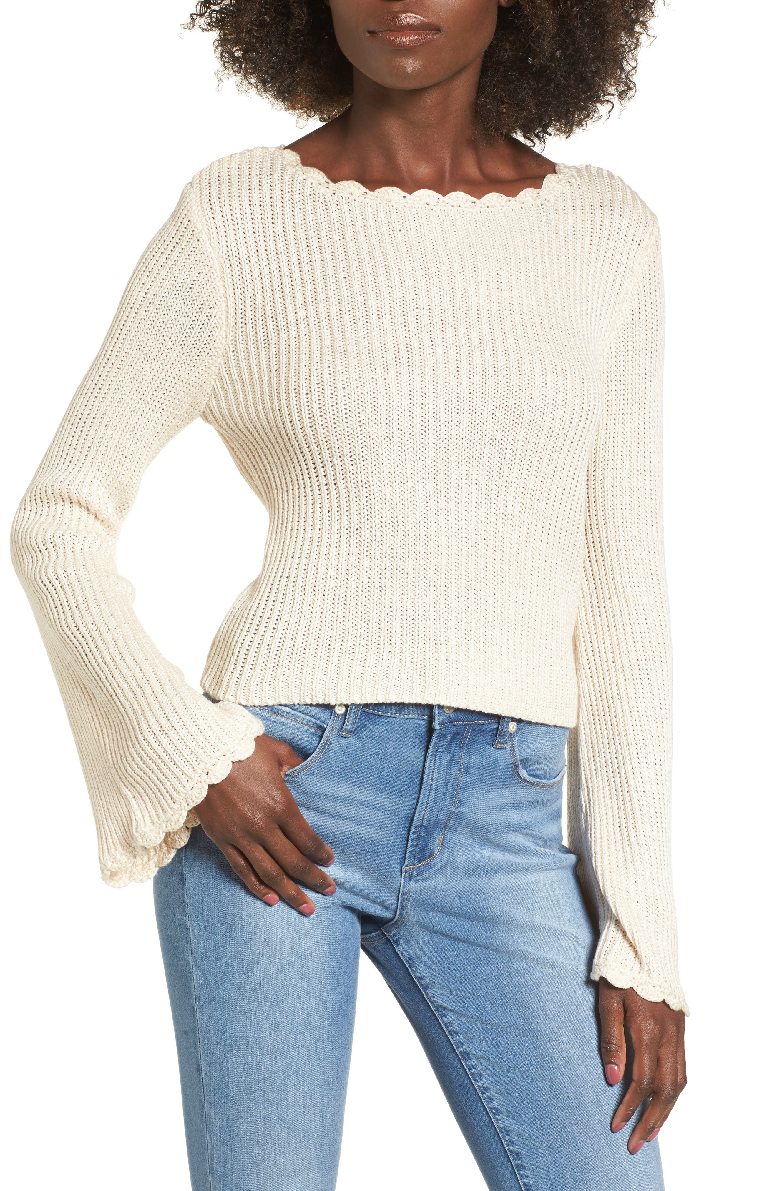 Scallop Edge Sweater,                         Main,                         color, Ivory