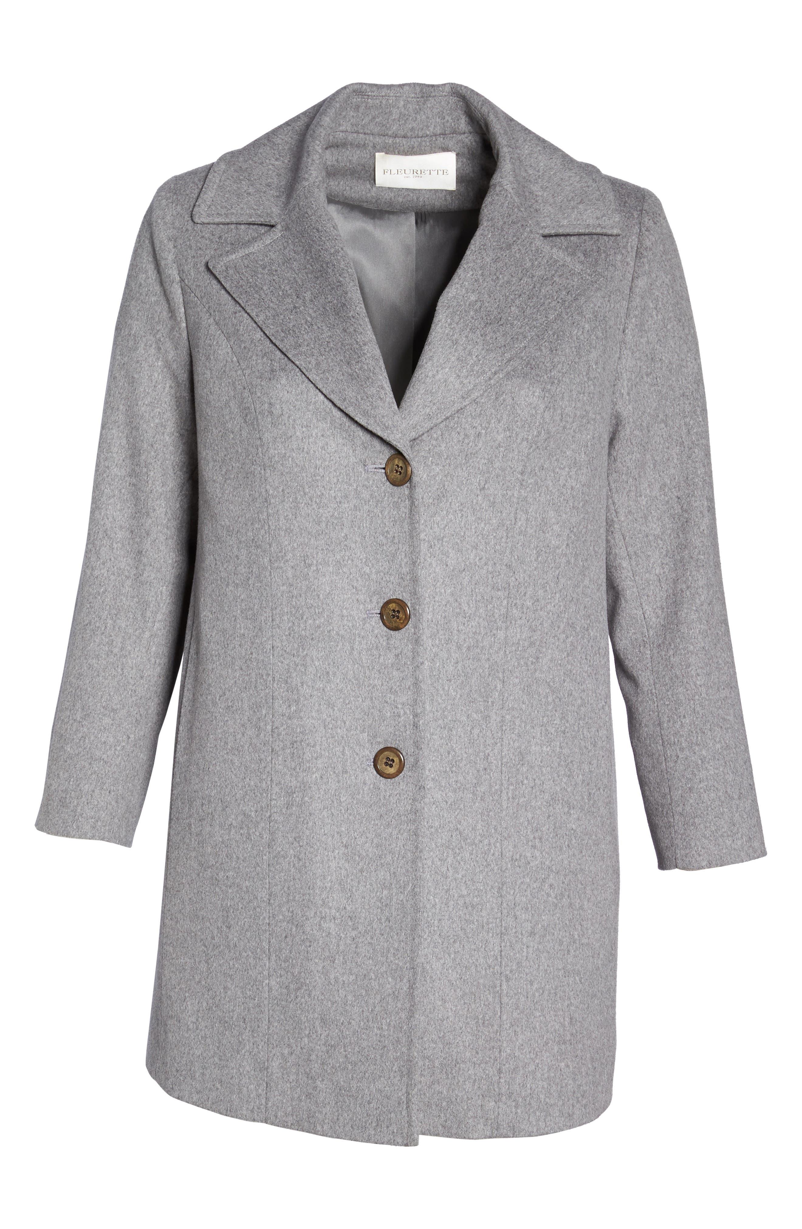 Alternate Image 6  - Fleurette Wool Walking Coat (Plus Size)
