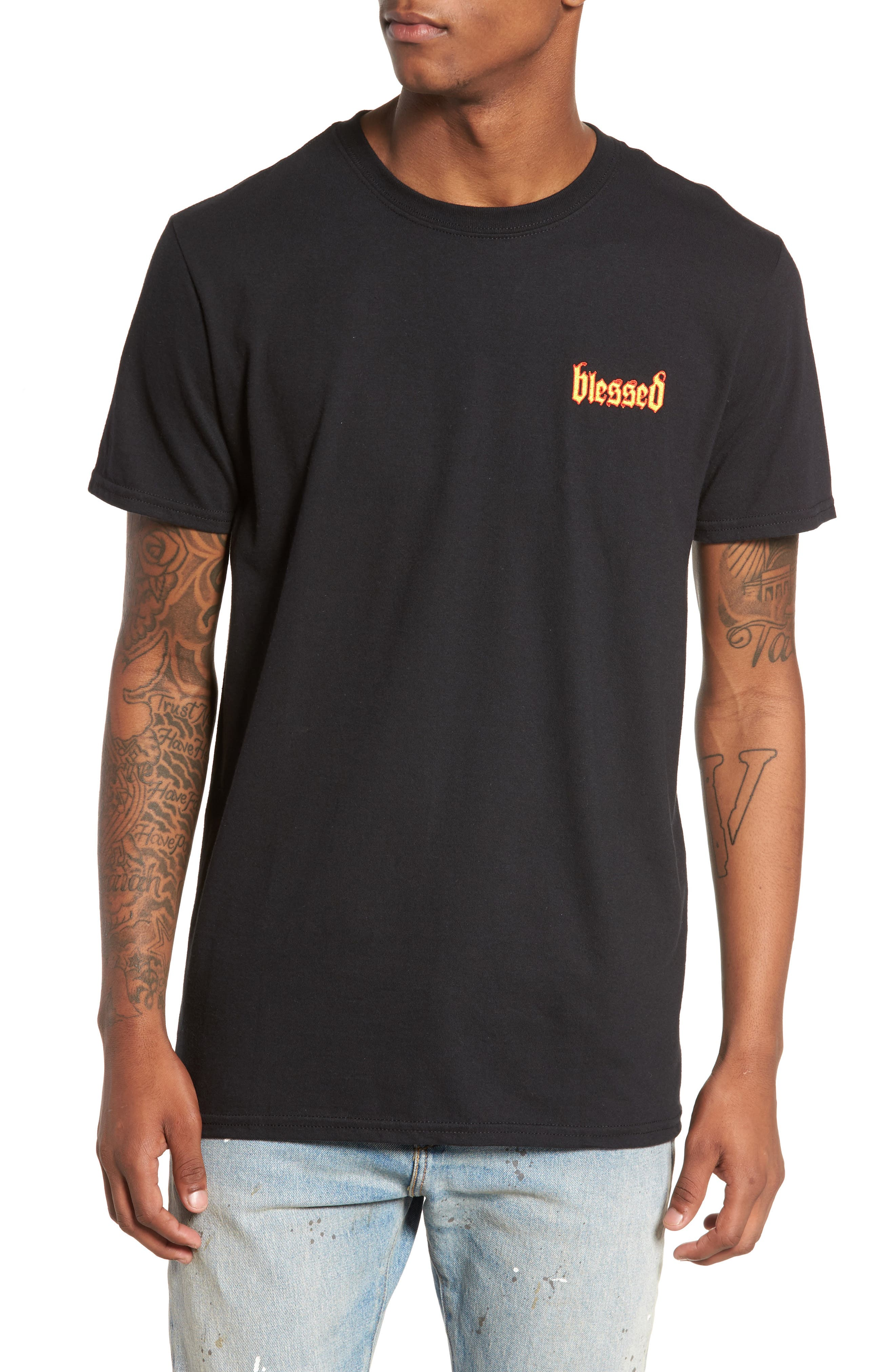 Blessed T-Shirt,                             Main thumbnail 1, color,                             Black Blessed