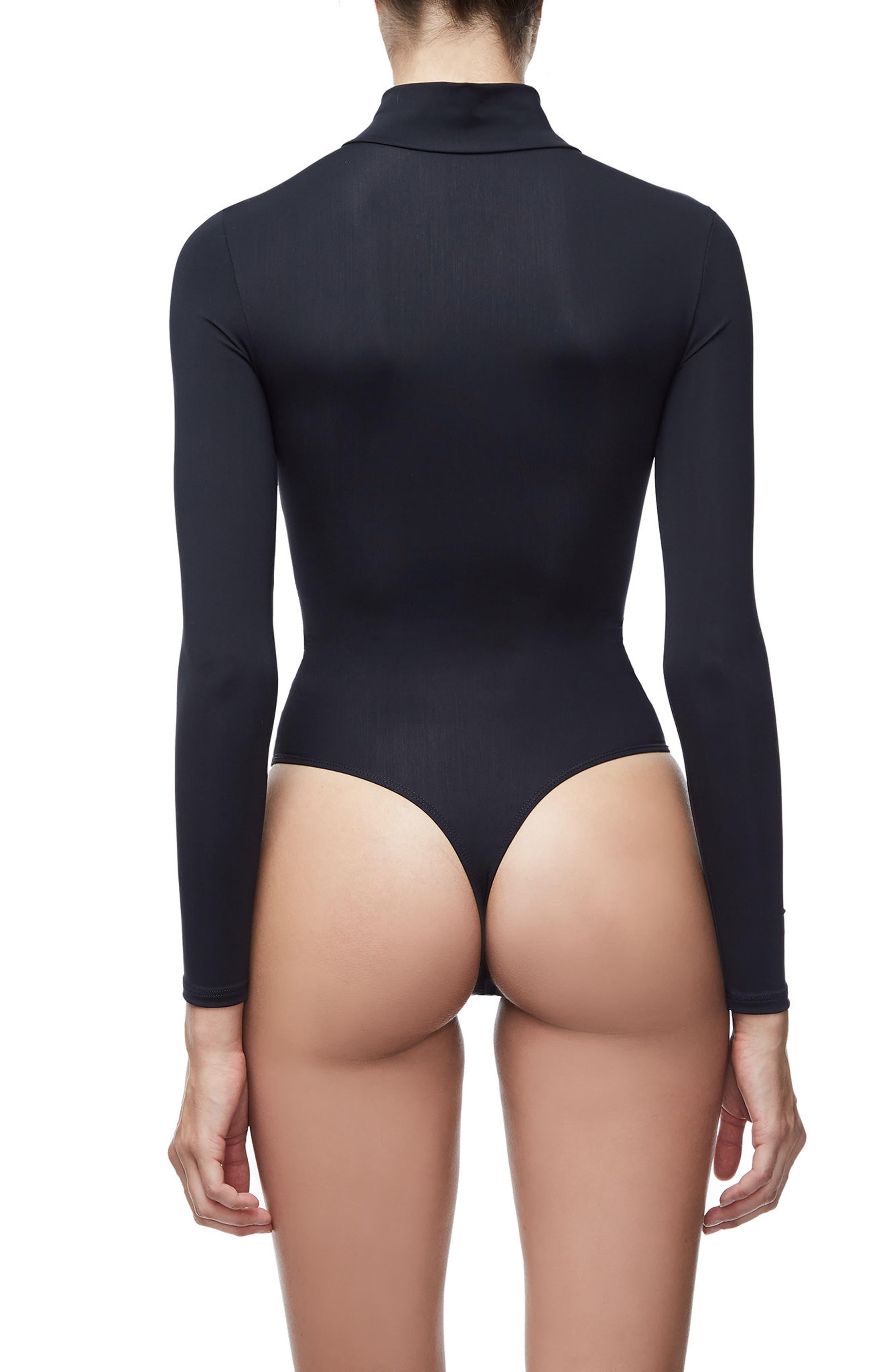 The Slightly Scuba Thong Bodysuit,                             Alternate thumbnail 2, color,                             Black001