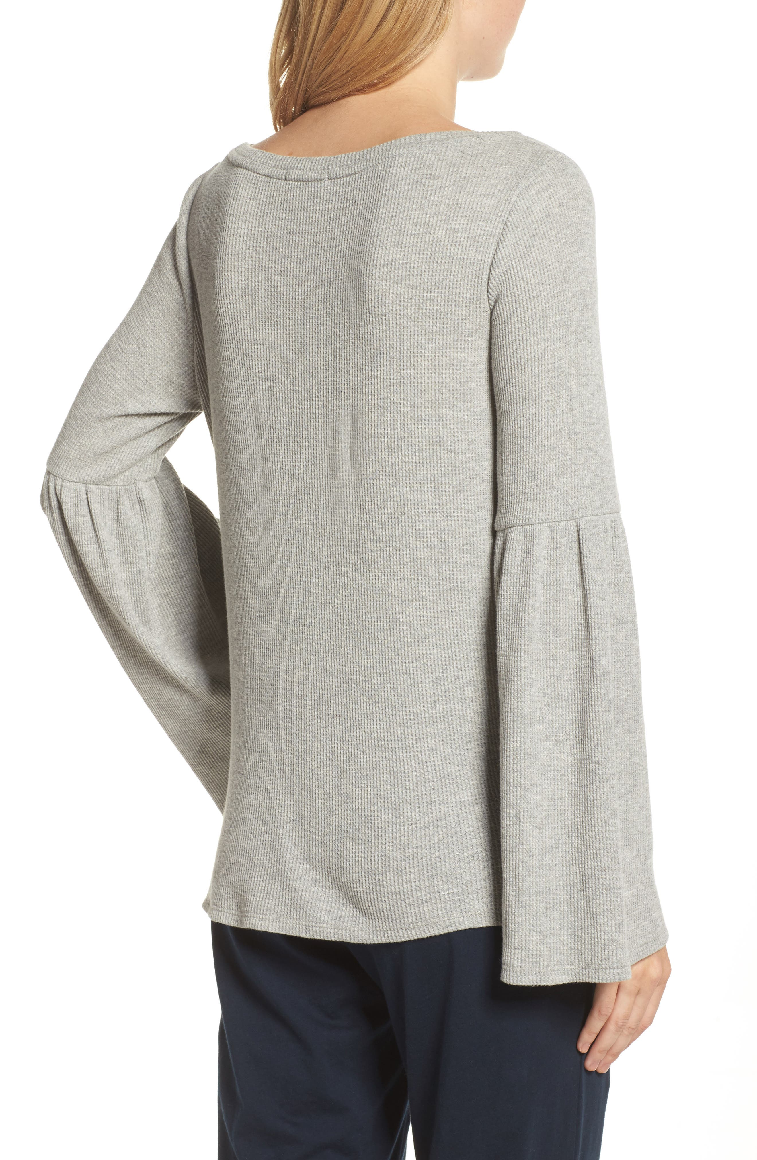 Imo Thermal Knit Tee,                             Alternate thumbnail 2, color,                             Heather Grey