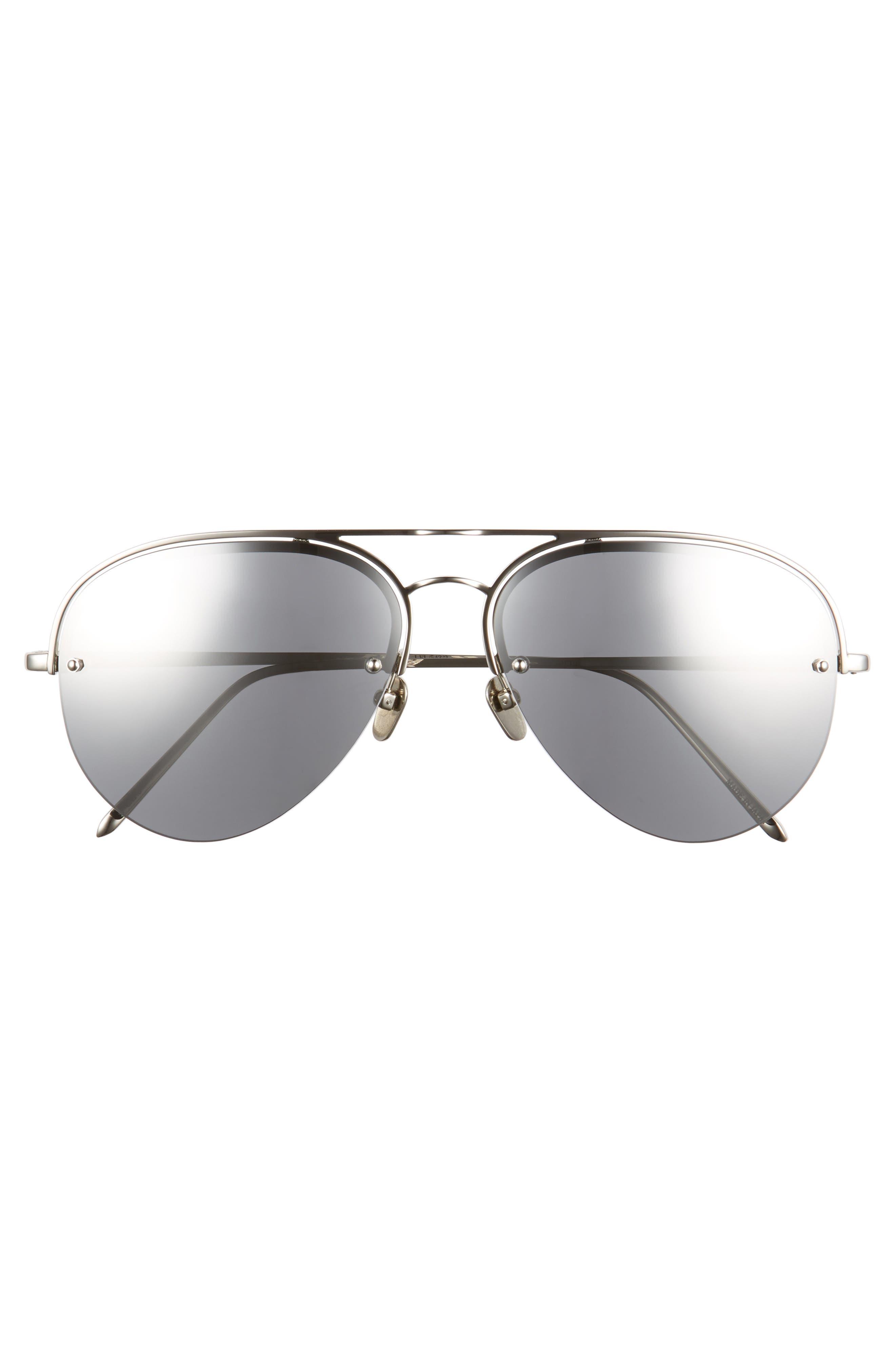 60mm Mirrored 18 Karat Gold Aviator Sunglasses,                             Alternate thumbnail 3, color,                             White Gold/ Platinum