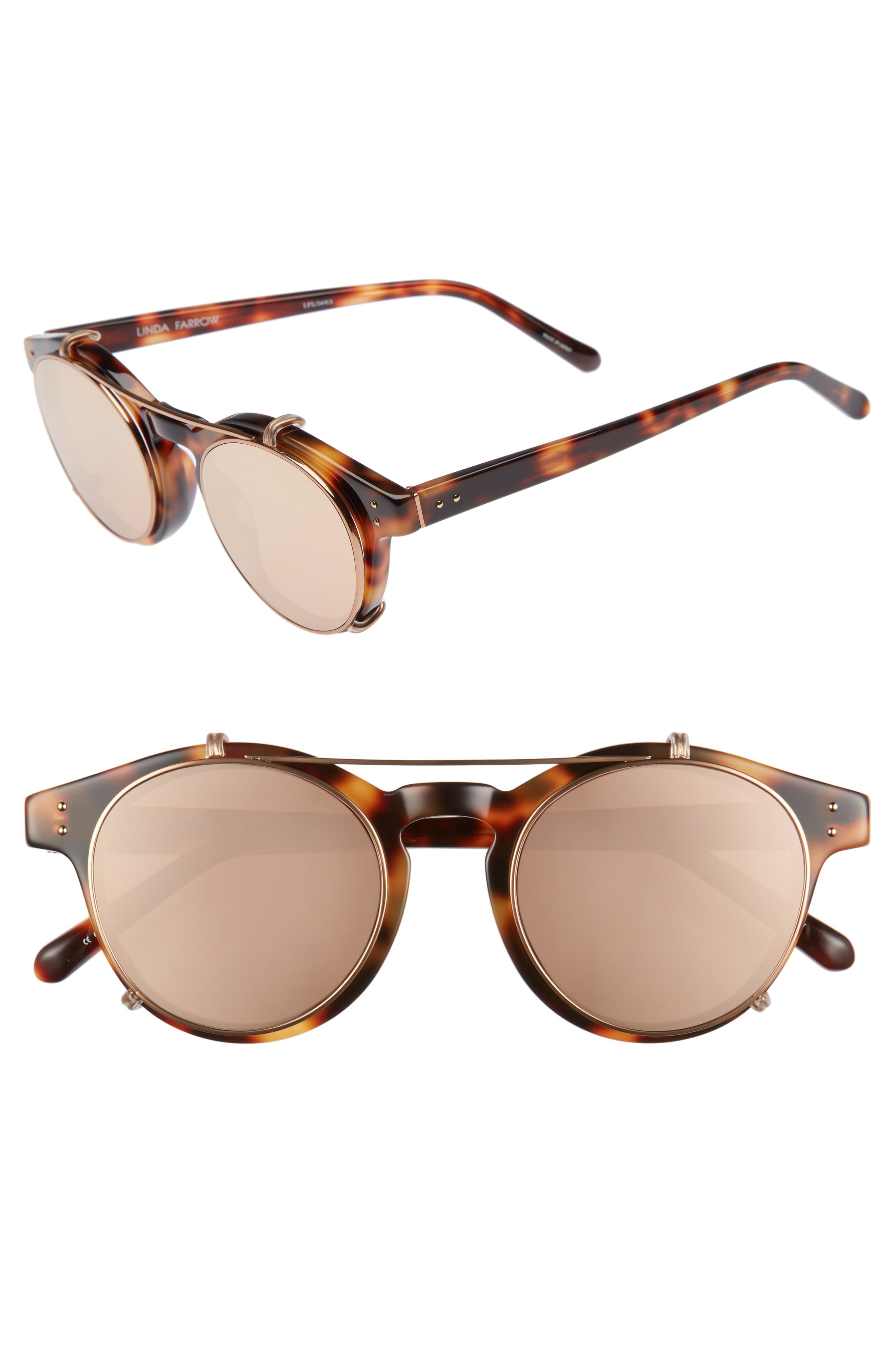 Main Image - Linda Farrow 47mm Optical Glasses with Clip-On 18 Karat Rose Gold Trim Sunglasses