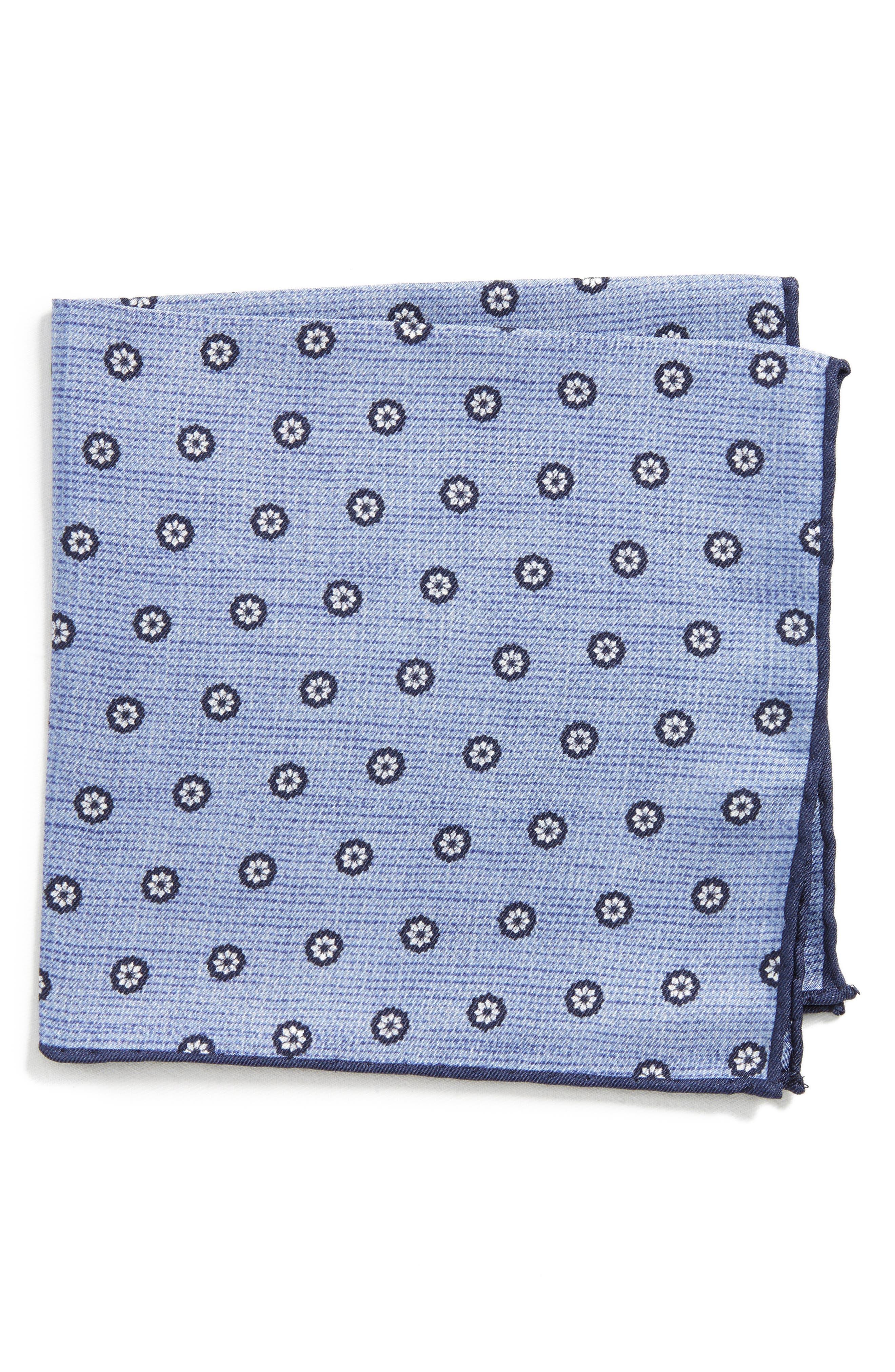 Floral Silk Pocket Square,                         Main,                         color, Light Blue