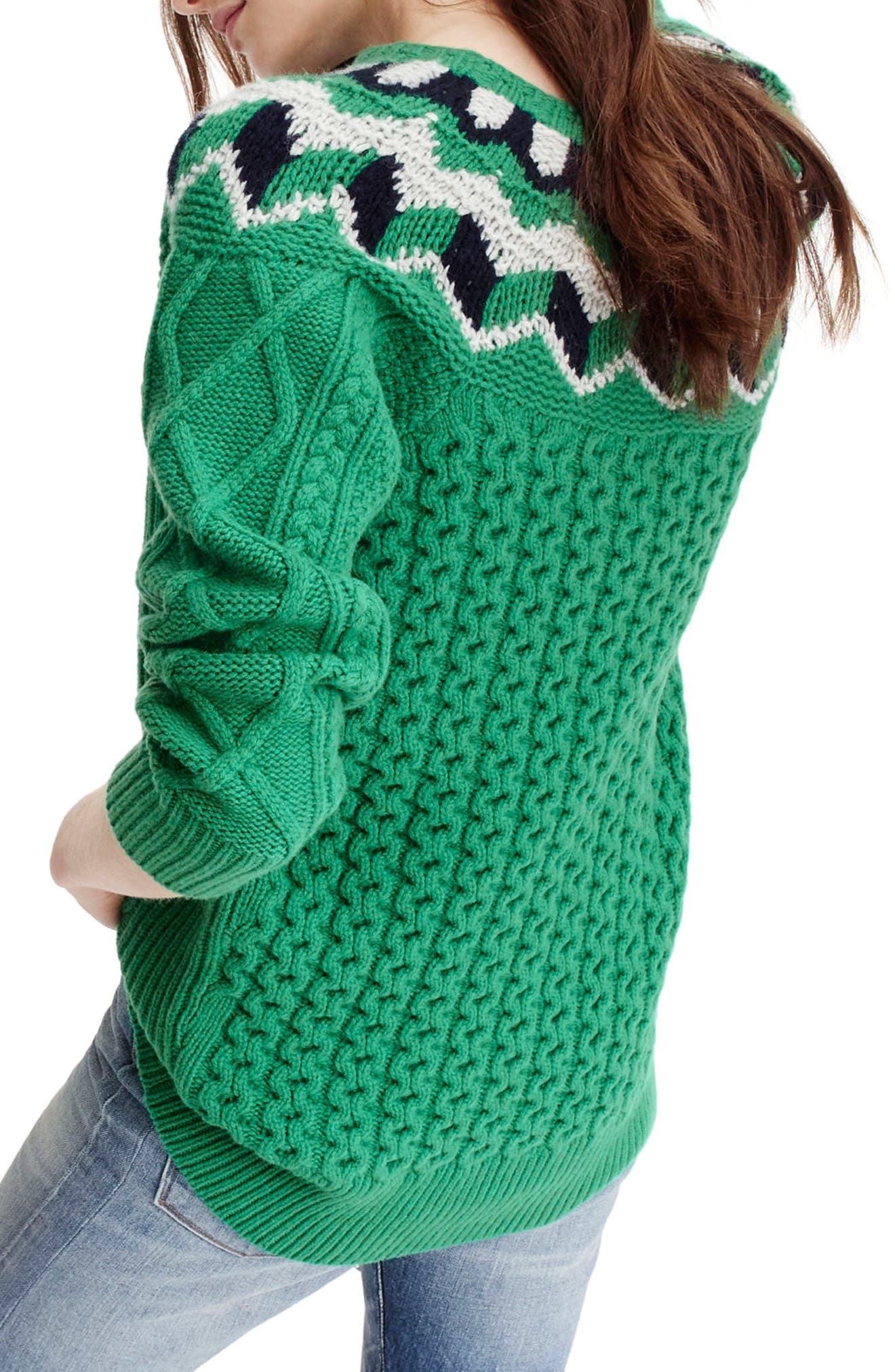 Wide Neck Fair Isle Sweater,                             Alternate thumbnail 2, color,                             Emerald/ Silver