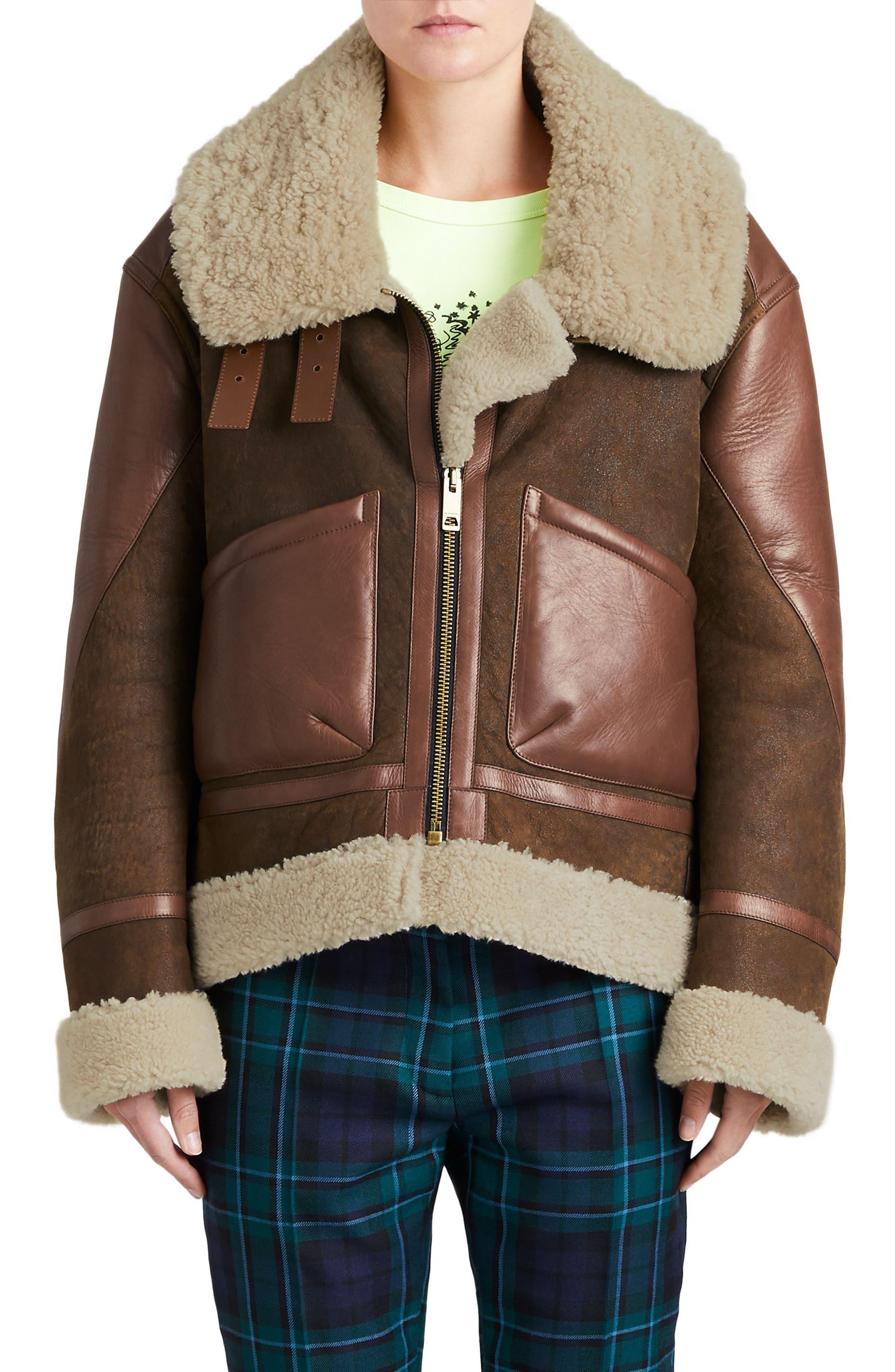Blexley Genuine Shearling Coat,                         Main,                         color, Dark Chocolate