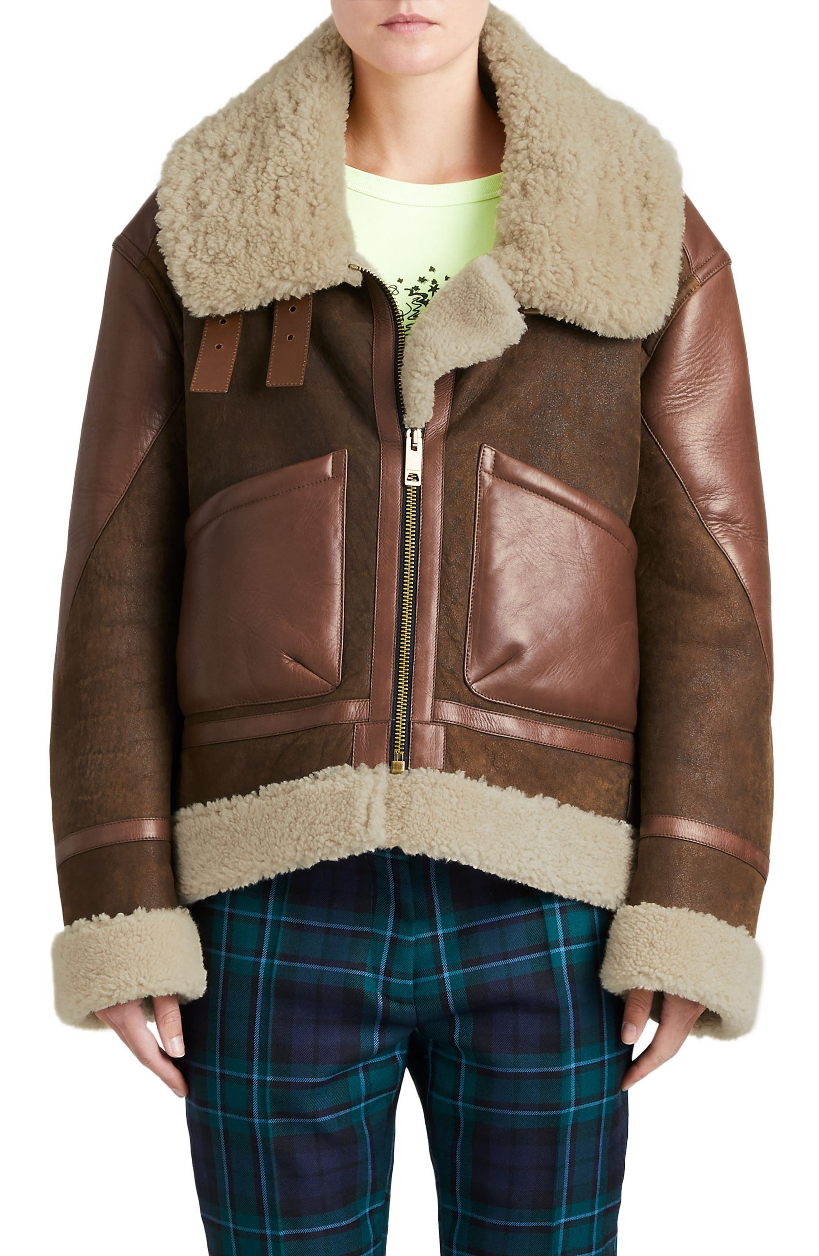 Burberry Blexley Genuine Shearling Coat