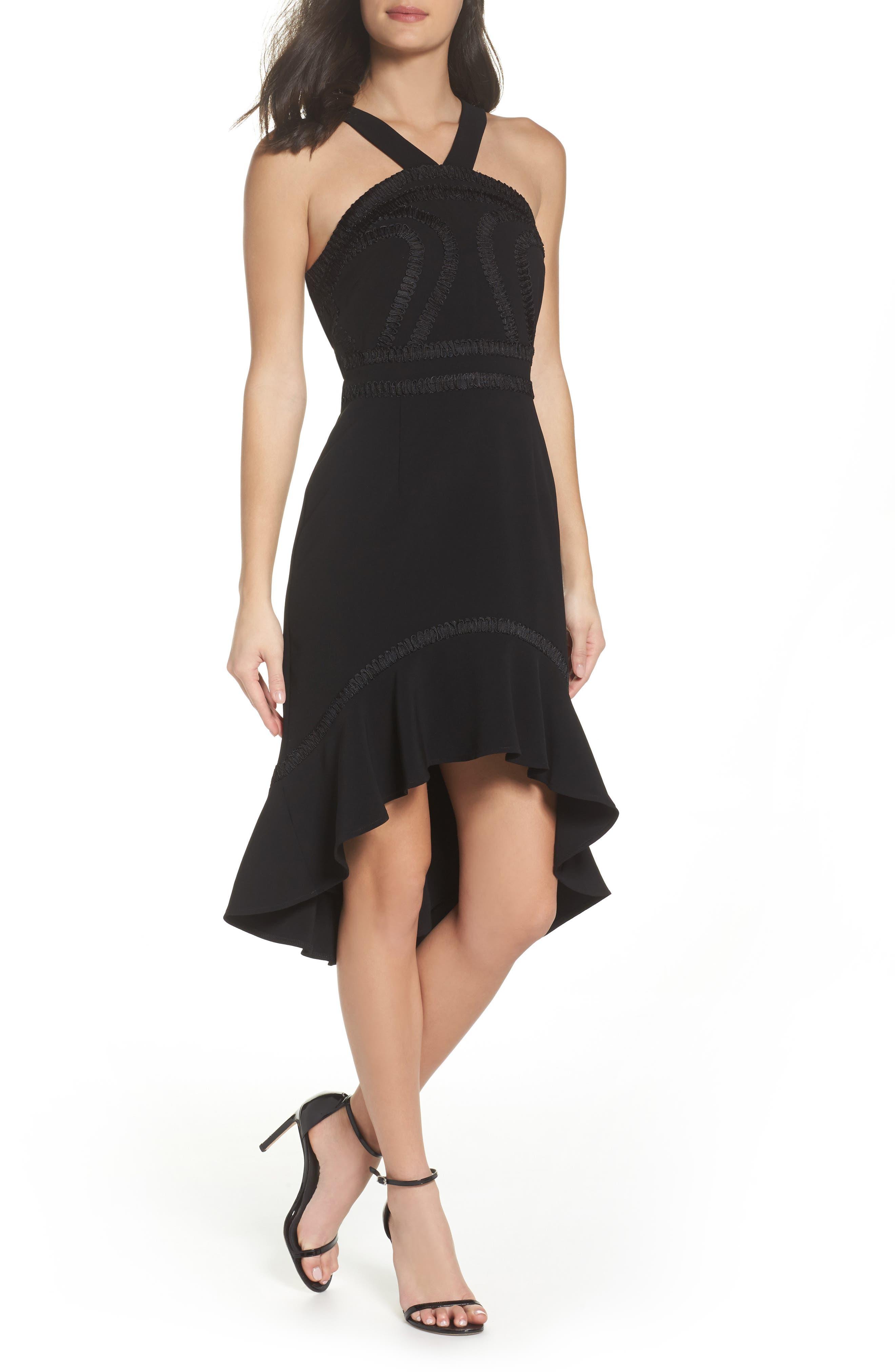 Main Image - Foxiedox Aviana High/Low Halter Neck Dress