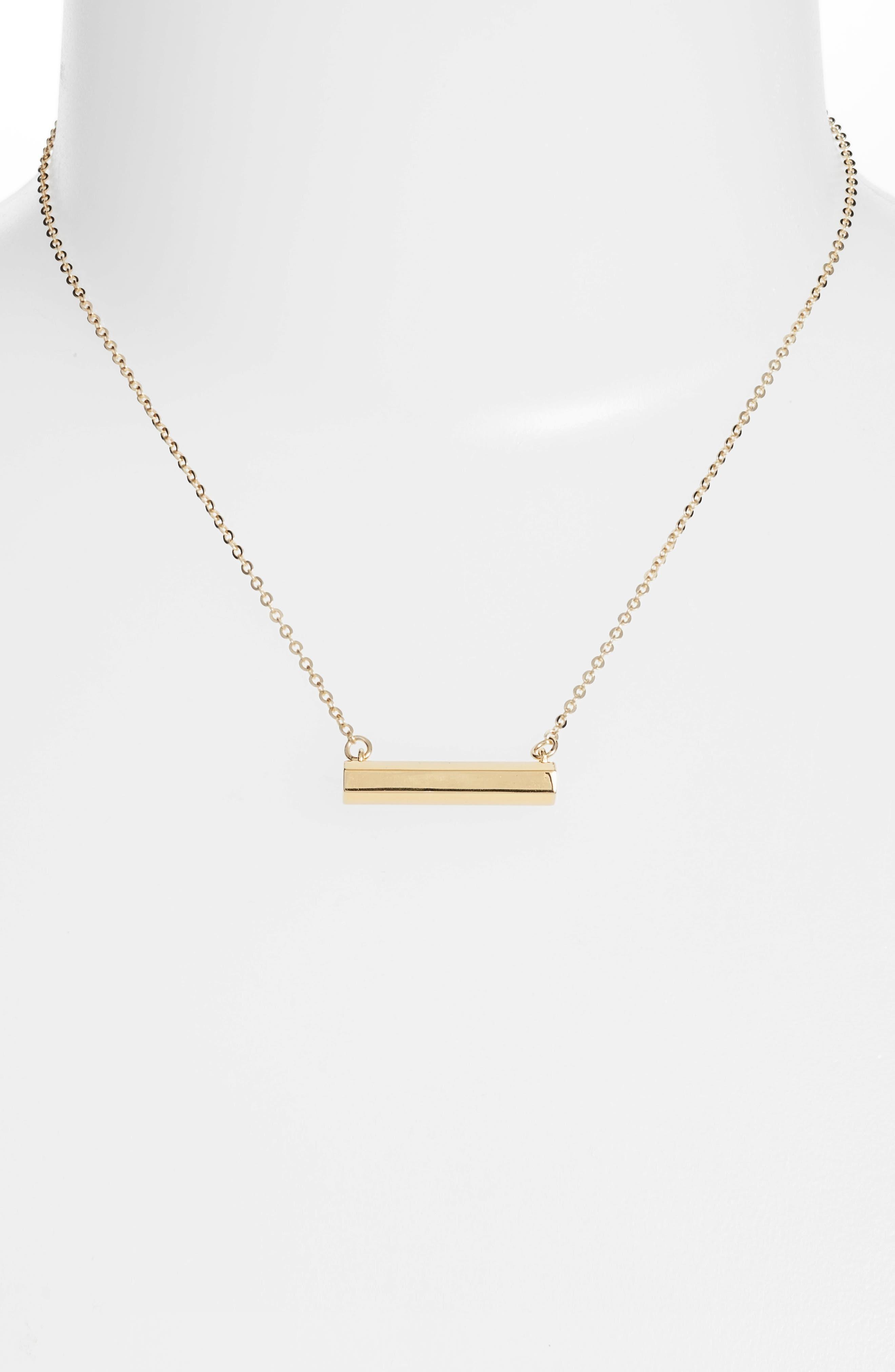 Hexagon Shaped Bar Pendant Necklace,                             Alternate thumbnail 2, color,                             Gold