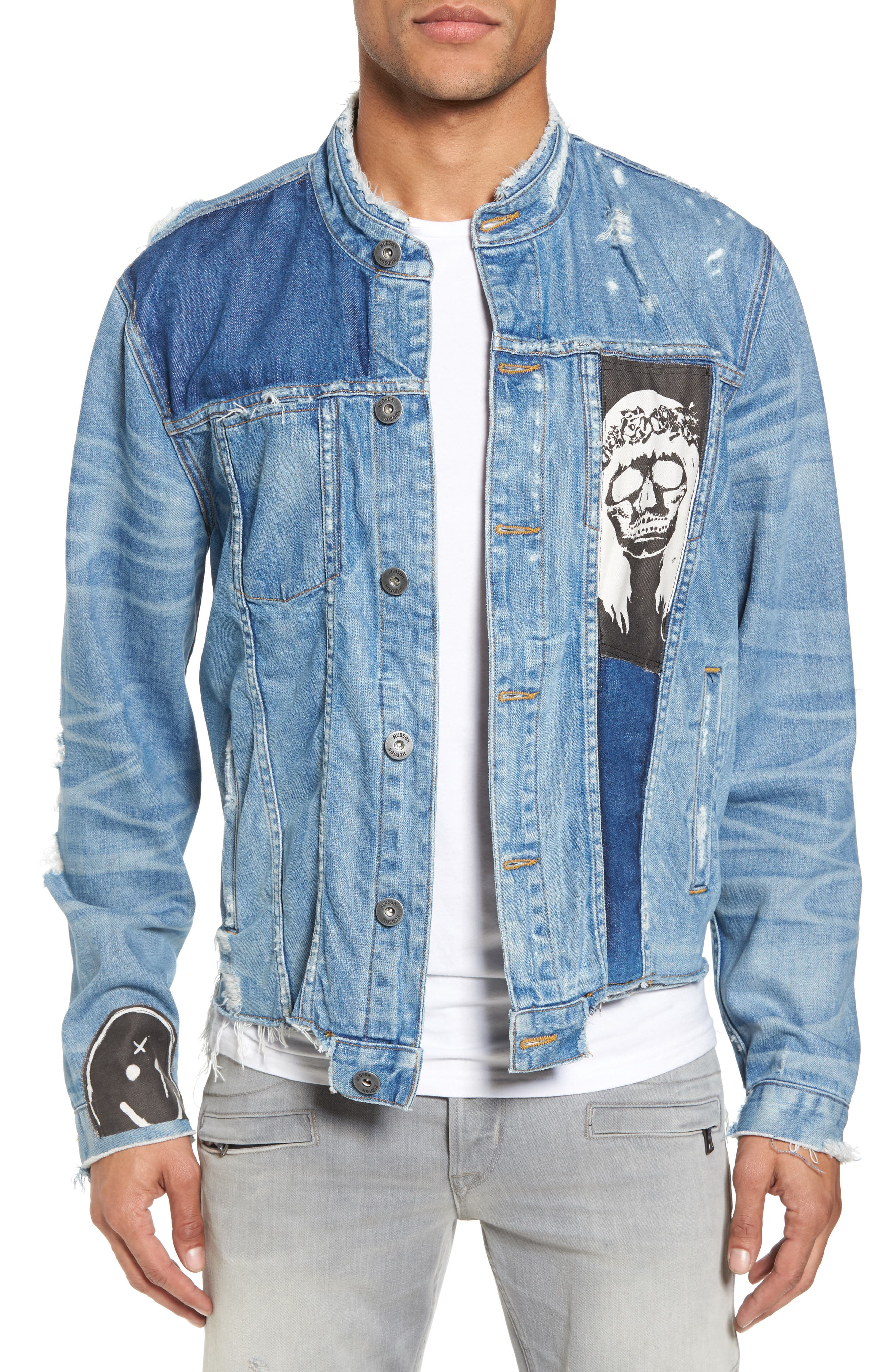 Blaine Crop Denim Jacket,                             Main thumbnail 1, color,                             Invert