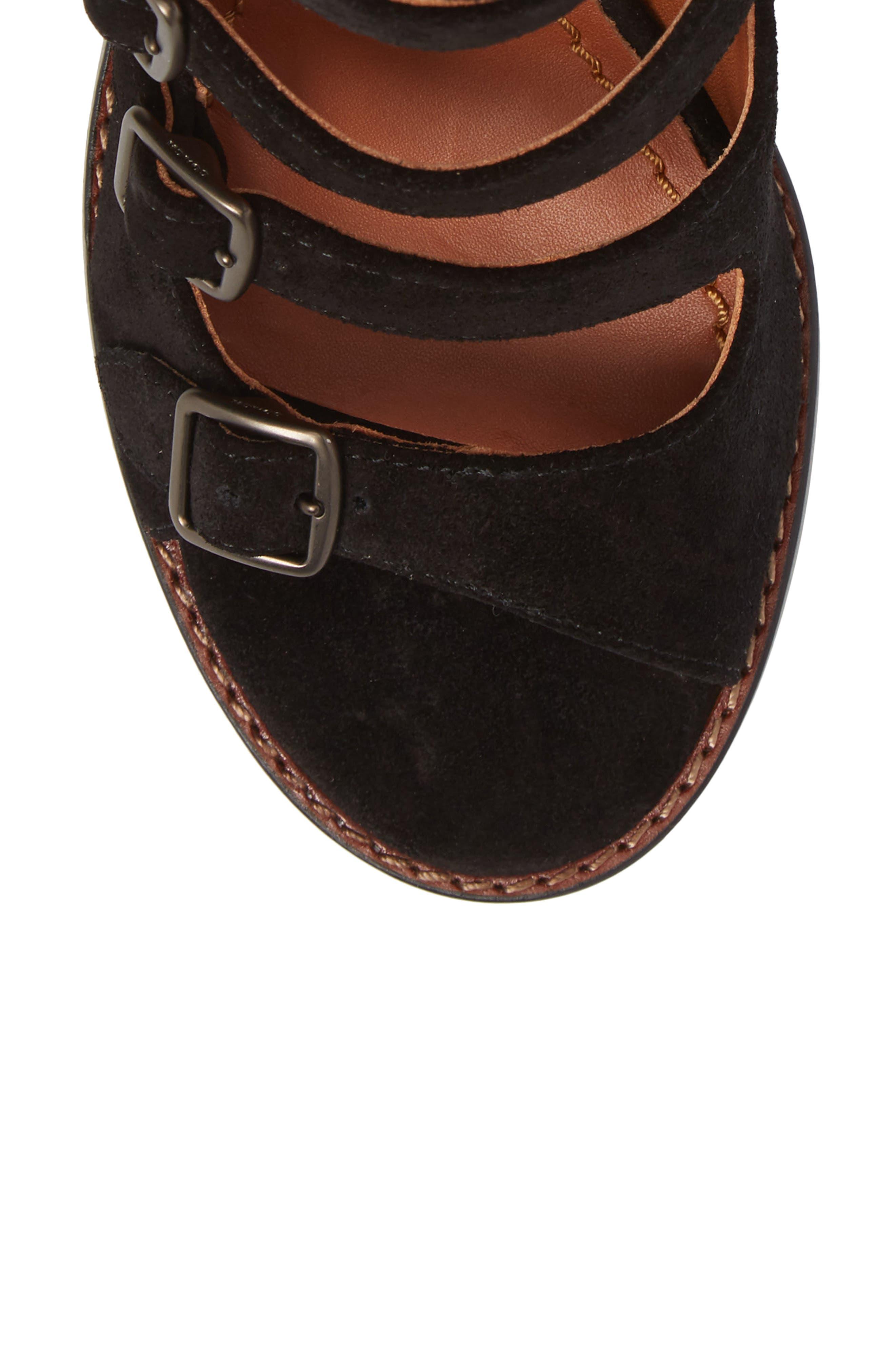 Prairie Rivet Buckle Sandal,                             Alternate thumbnail 5, color,                             Black Suede