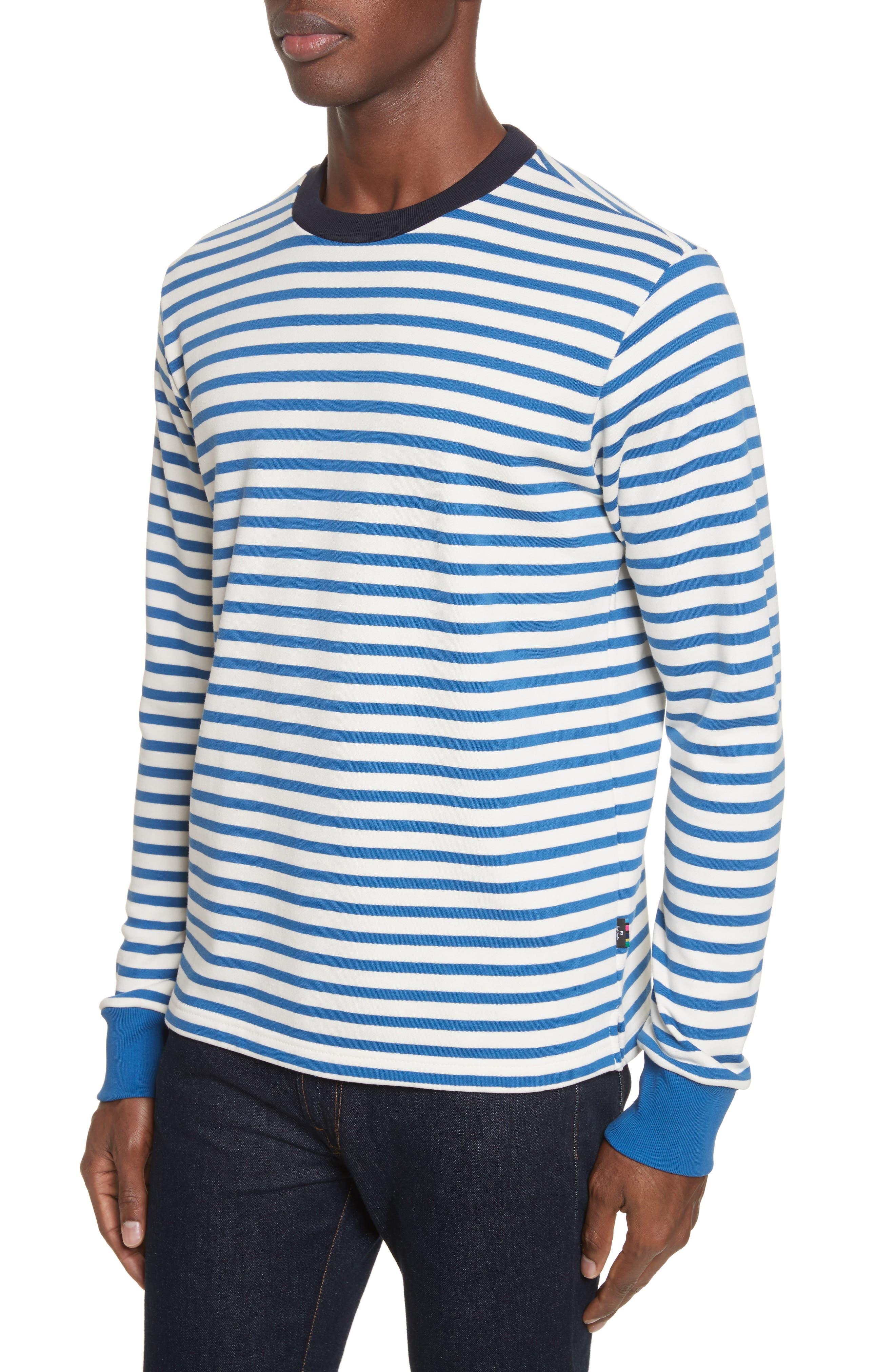 Stripe Crewneck Sweatshirt,                             Alternate thumbnail 4, color,                             Indigo