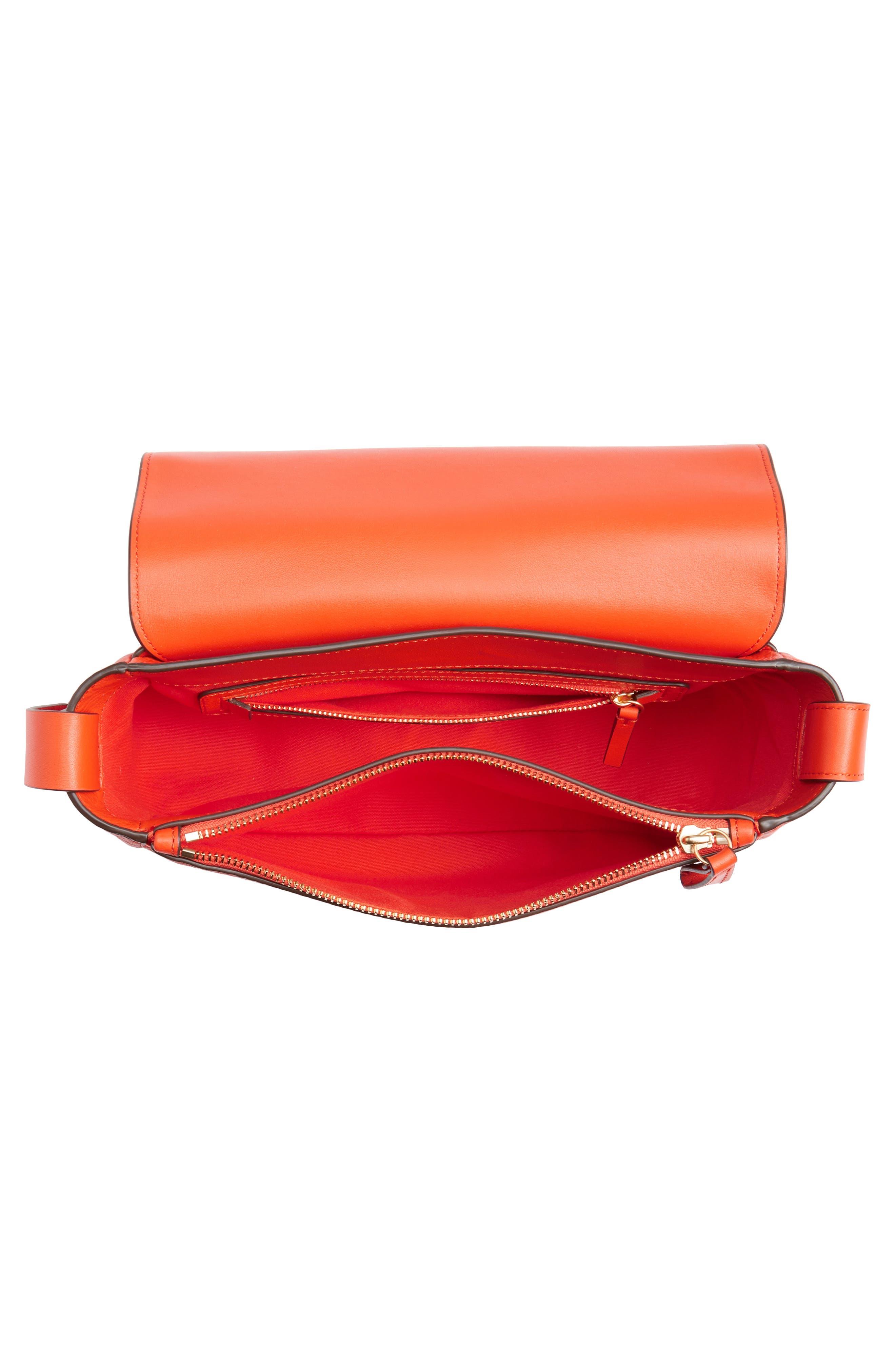 Block-T Pebbled Leather Shoulder Bag,                             Alternate thumbnail 4, color,                             Spicy Orange