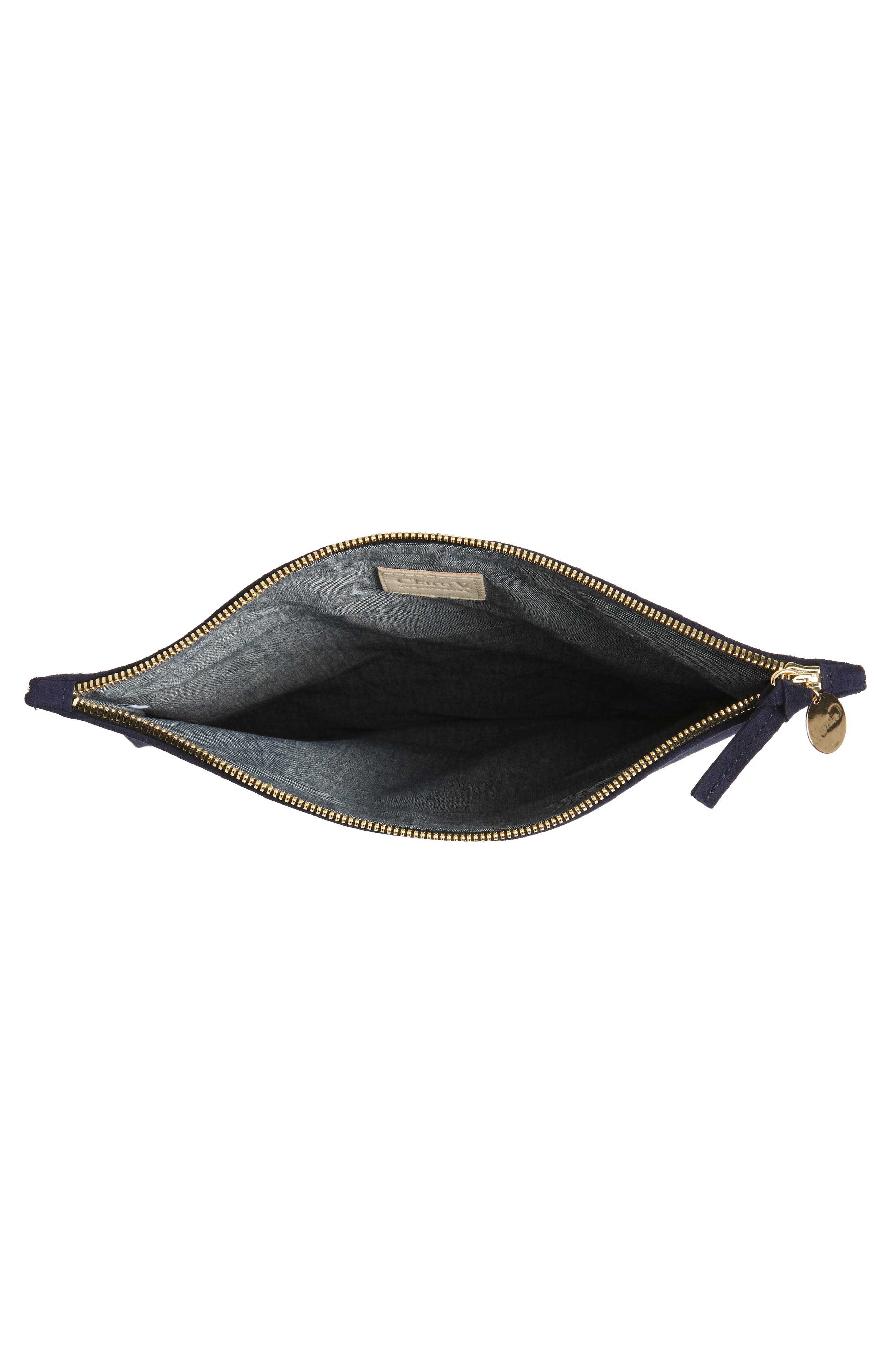 Margot Suede Foldover Clutch,                             Alternate thumbnail 4, color,                             Navy Suede