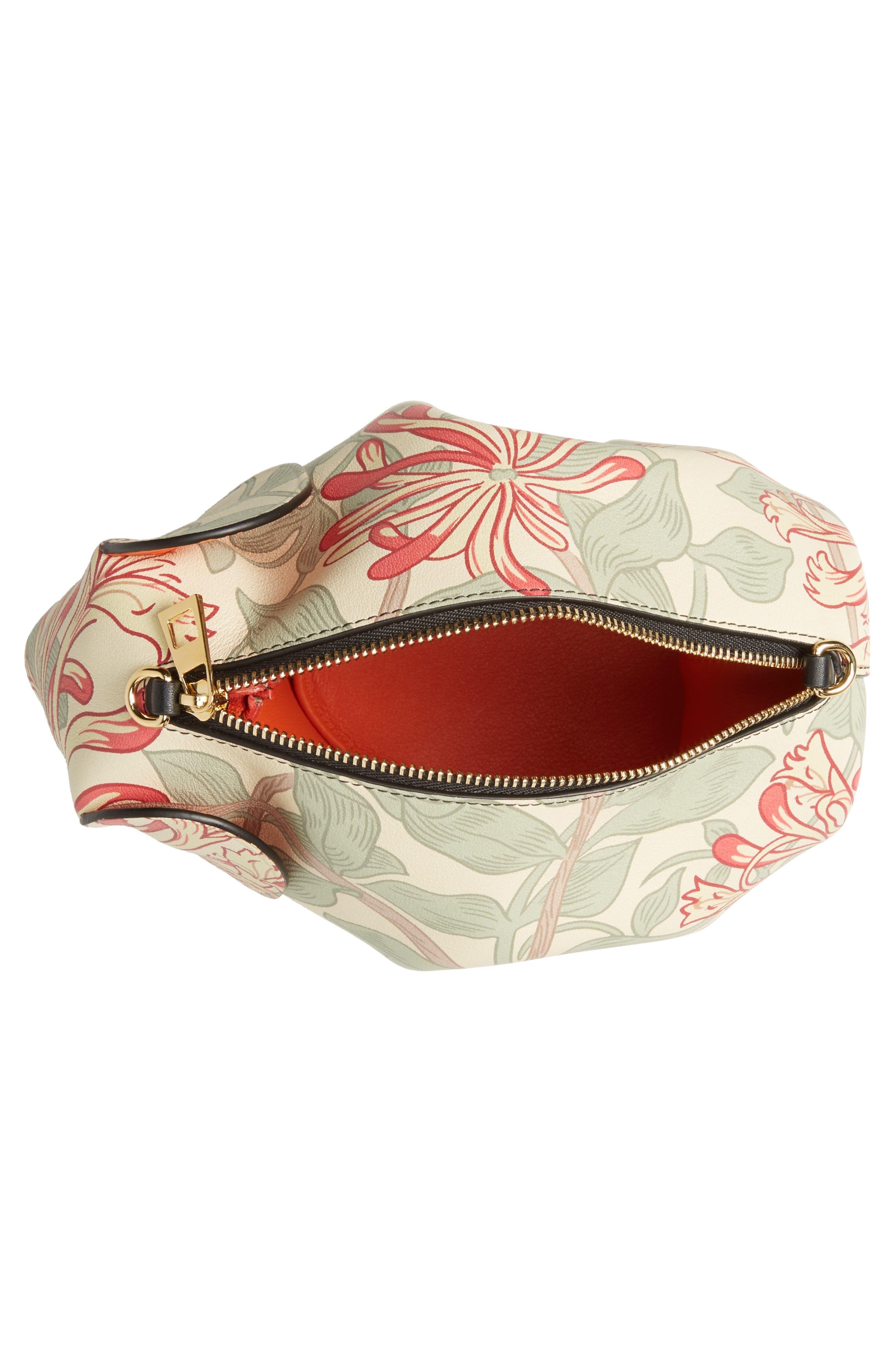 Mini Elephant Honeysuckle Print Leather Crossbody Bag,                             Alternate thumbnail 4, color,                             Beige/ Green/ Multicolour
