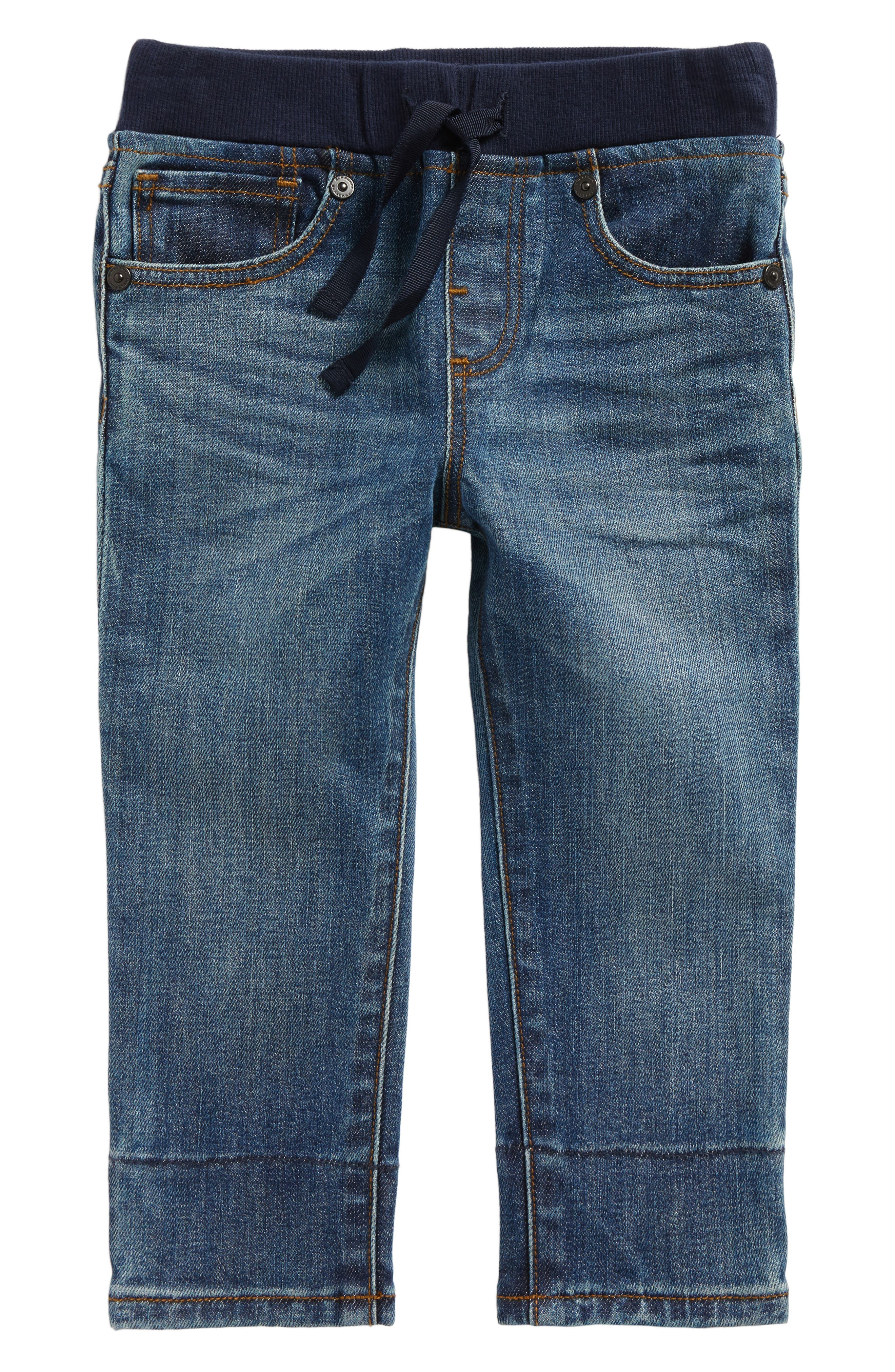 Check Cuff Pull-On Jeans,                             Main thumbnail 1, color,                             Mid Indigo
