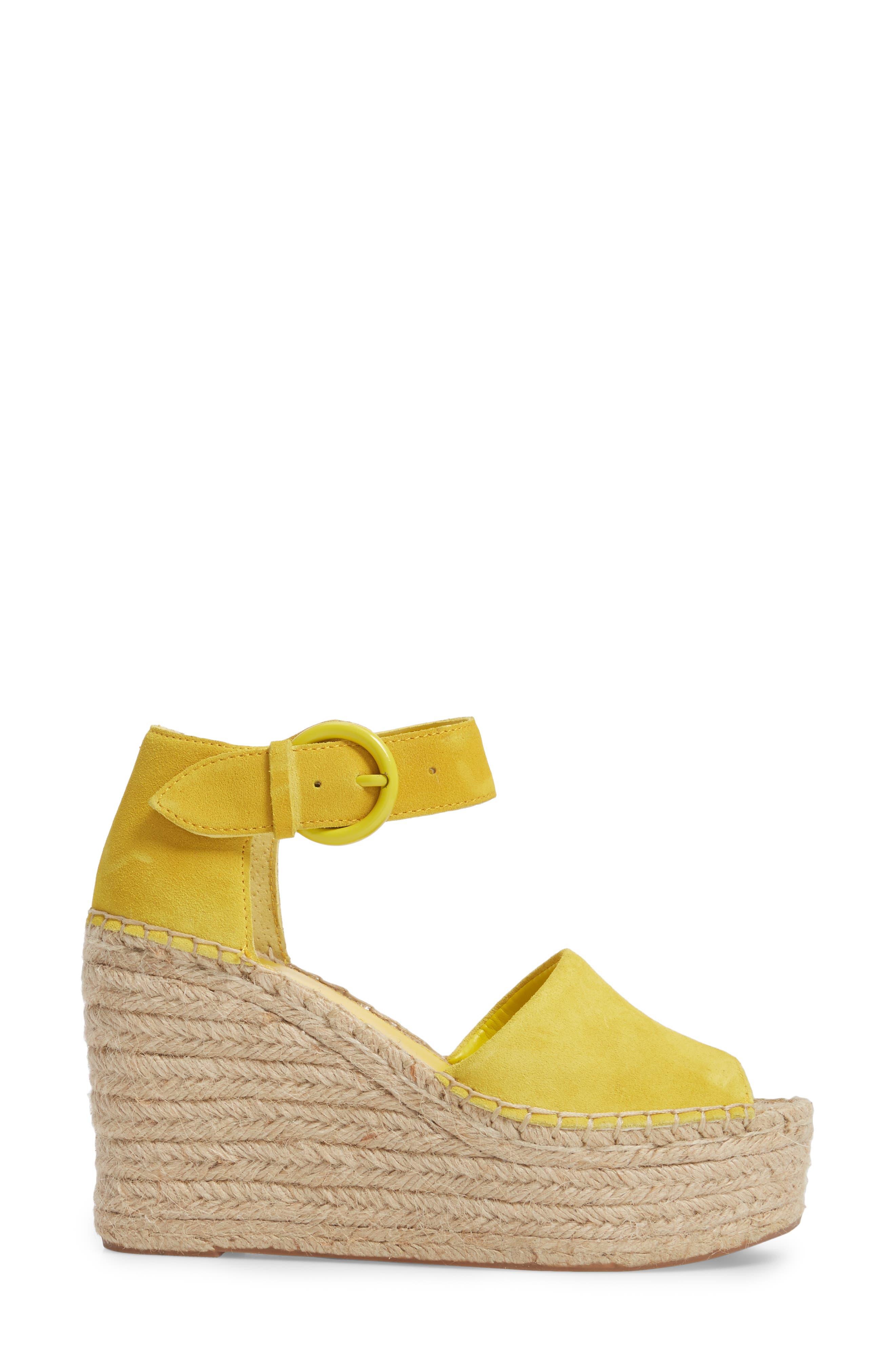 Alida Espadrille Platform Wedge,                             Alternate thumbnail 3, color,                             Yellow Suede