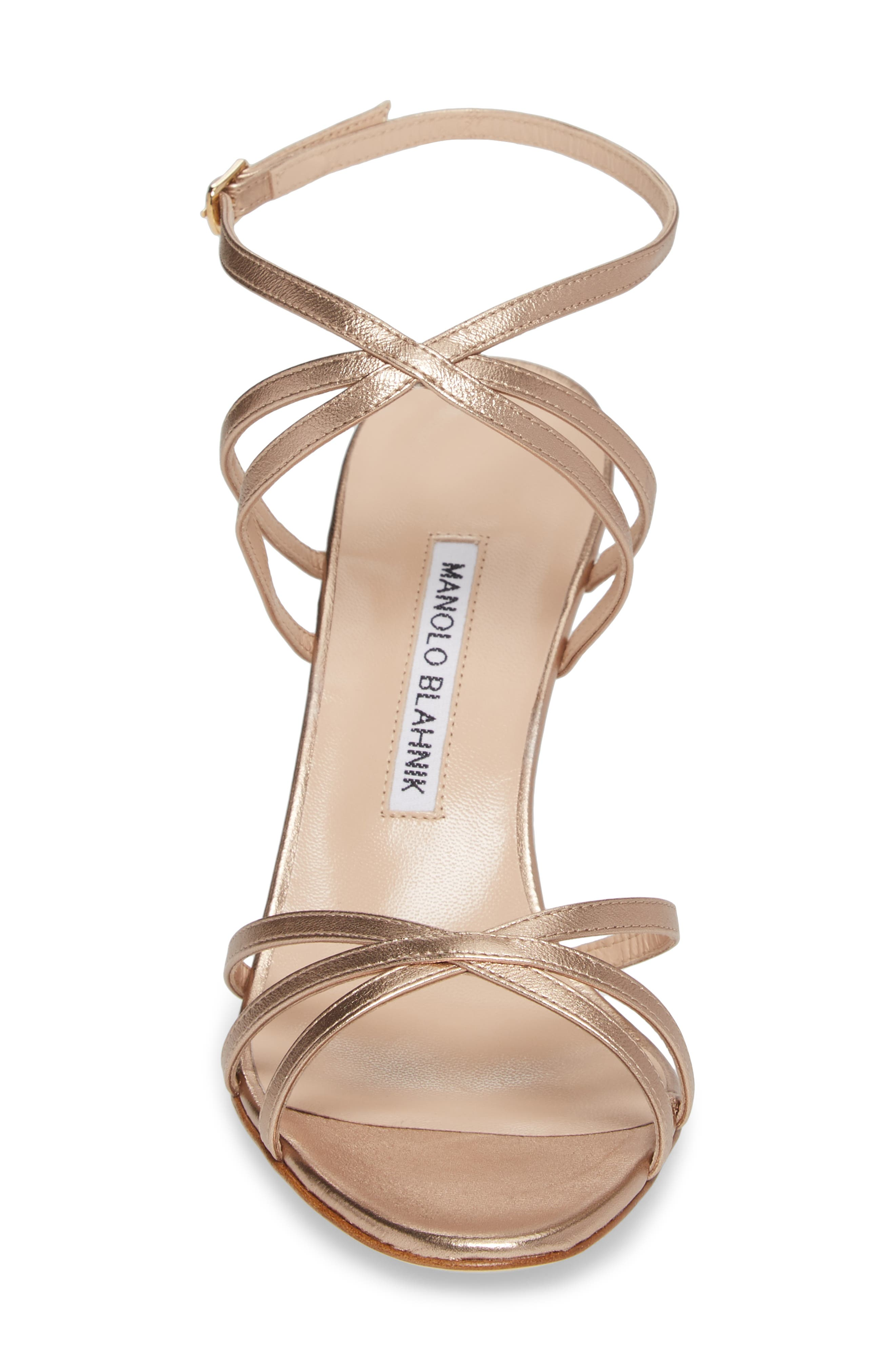 3e9141887b9 MANOLO BLAHNIK Naro Strappy Metallic Leather Sandal .