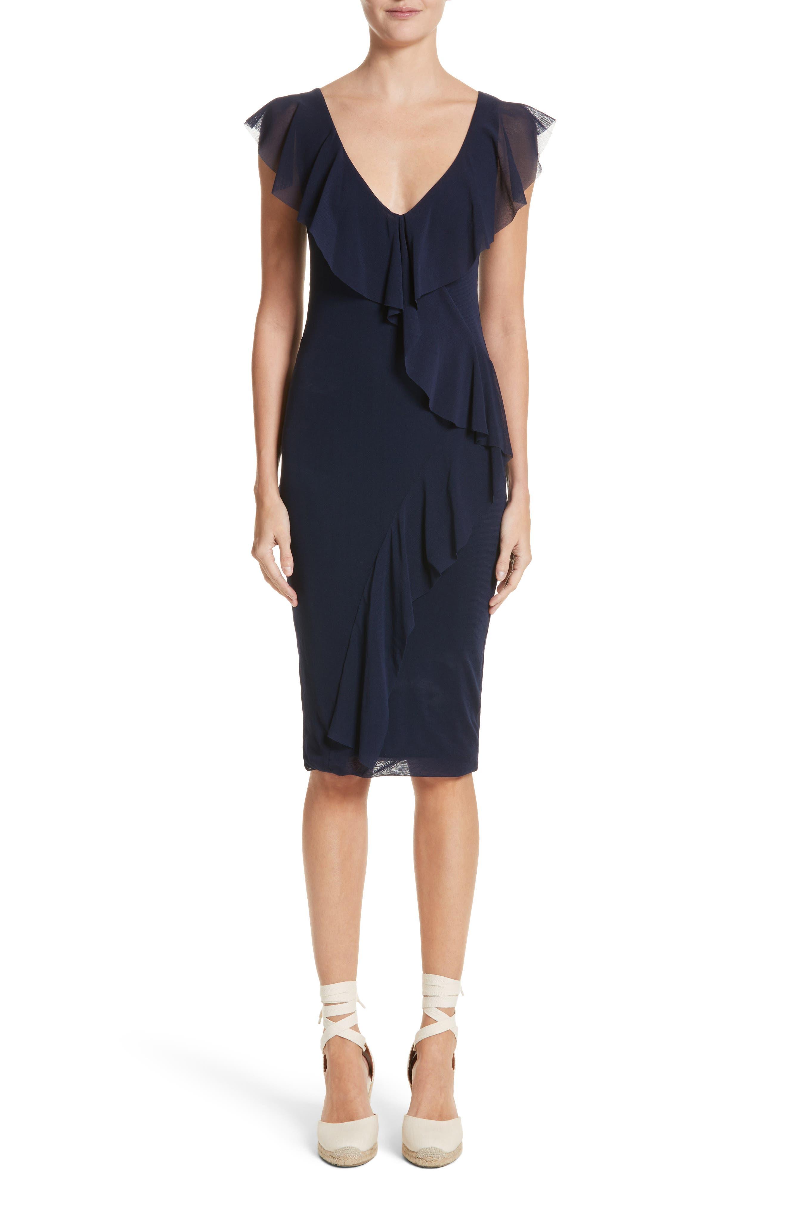 Ruffle V-Neck Body-Con Dress,                             Main thumbnail 1, color,                             Zaffiro