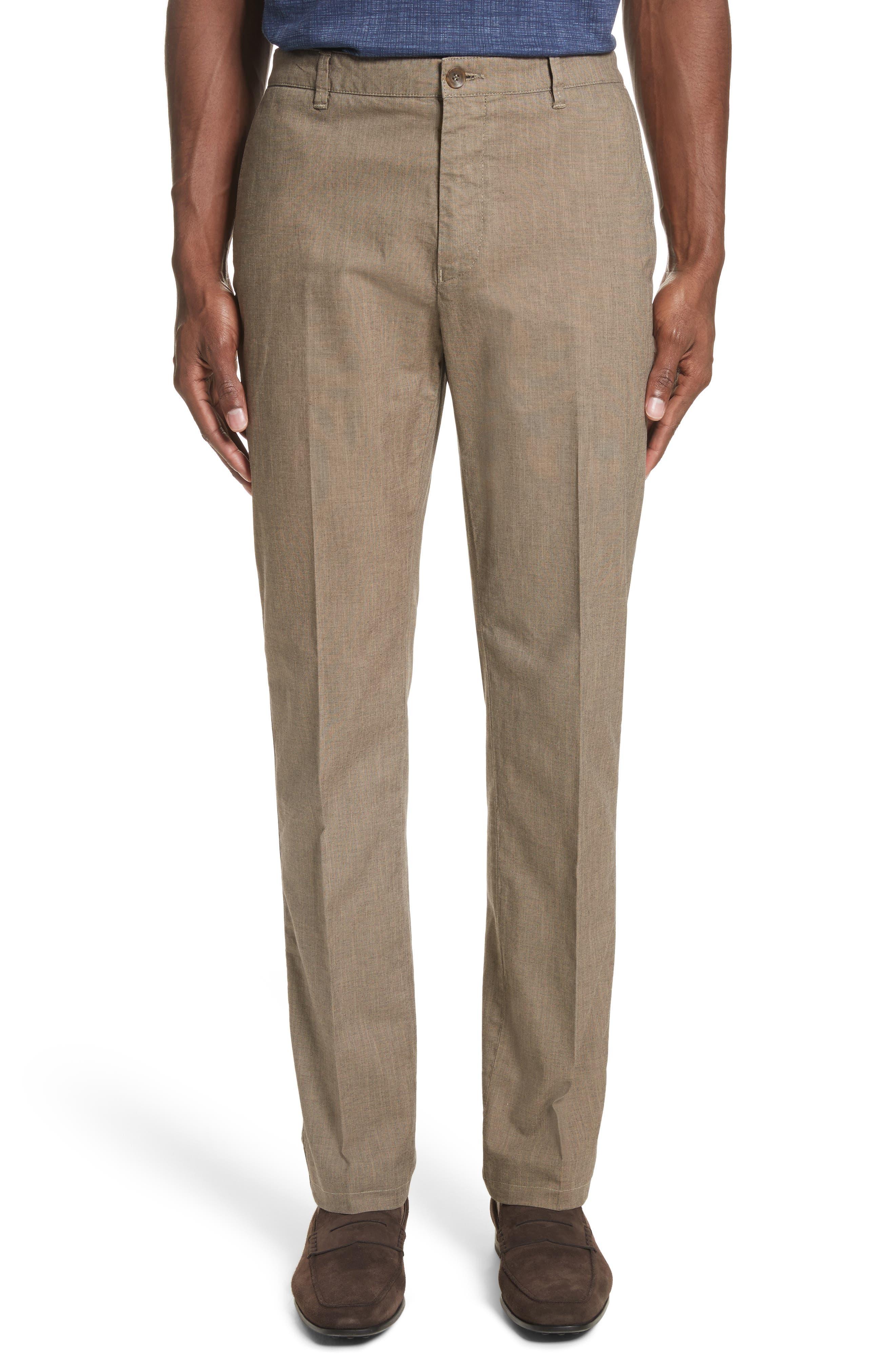 French Pocket Stretch Straight Leg Pants,                             Main thumbnail 1, color,                             Dark Beige