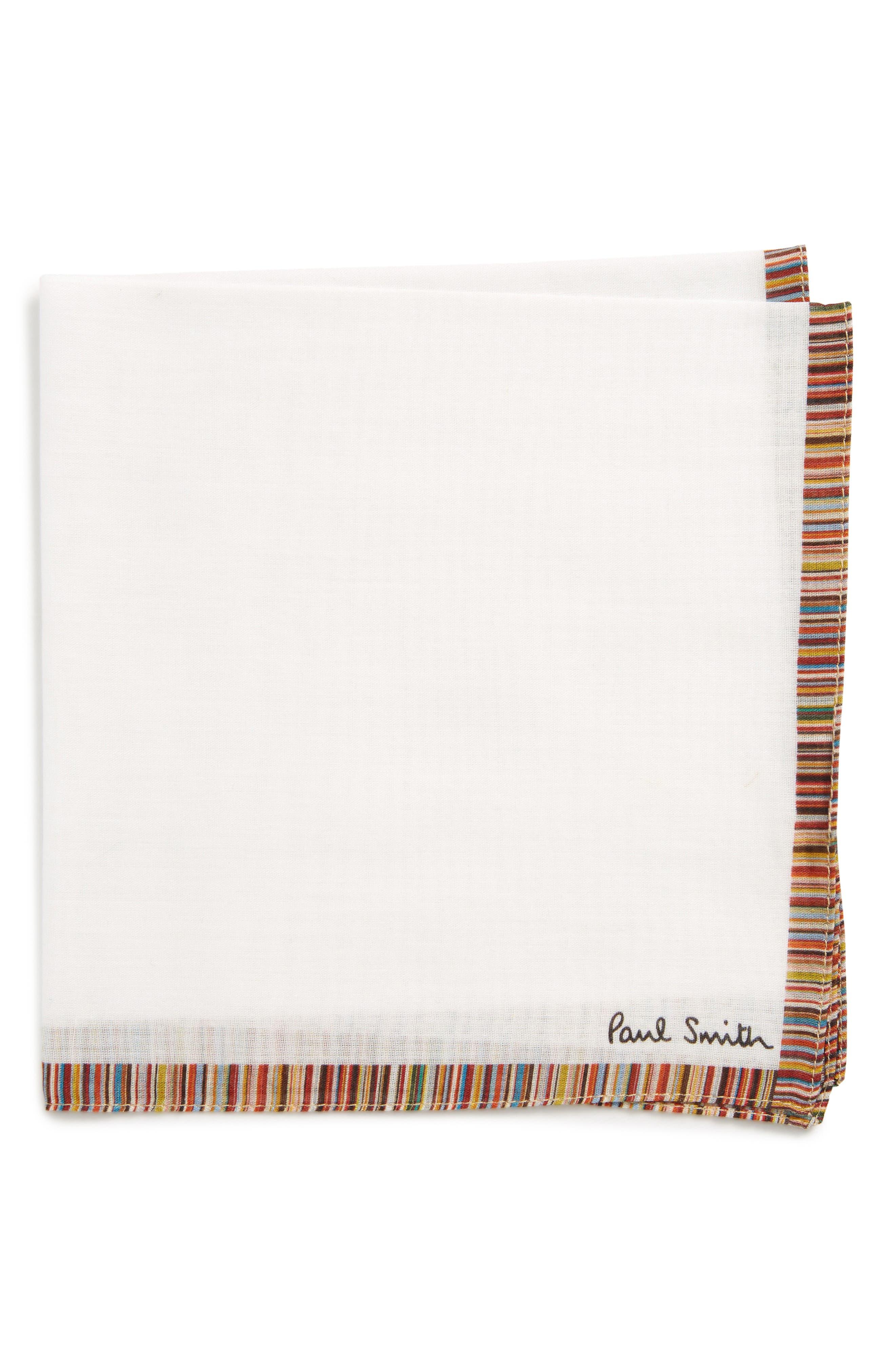 Multistripe Pocket Square,                             Main thumbnail 1, color,                             White