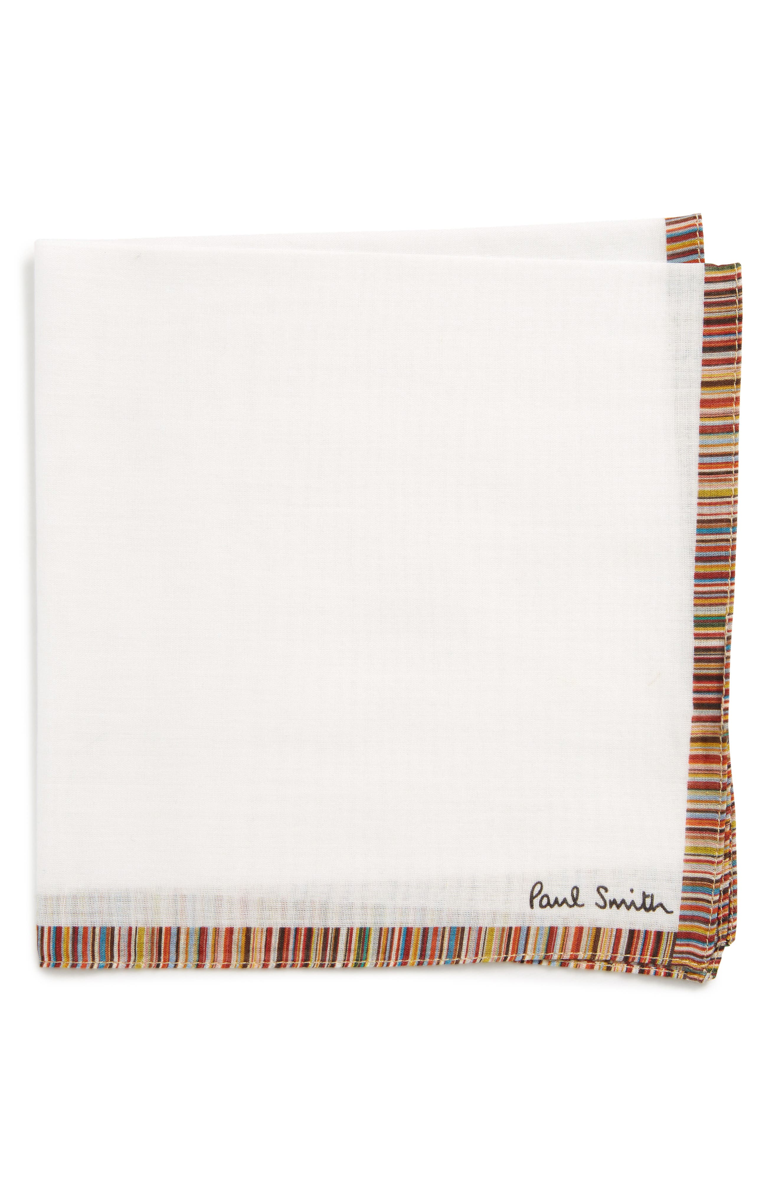 Multistripe Pocket Square,                         Main,                         color, White