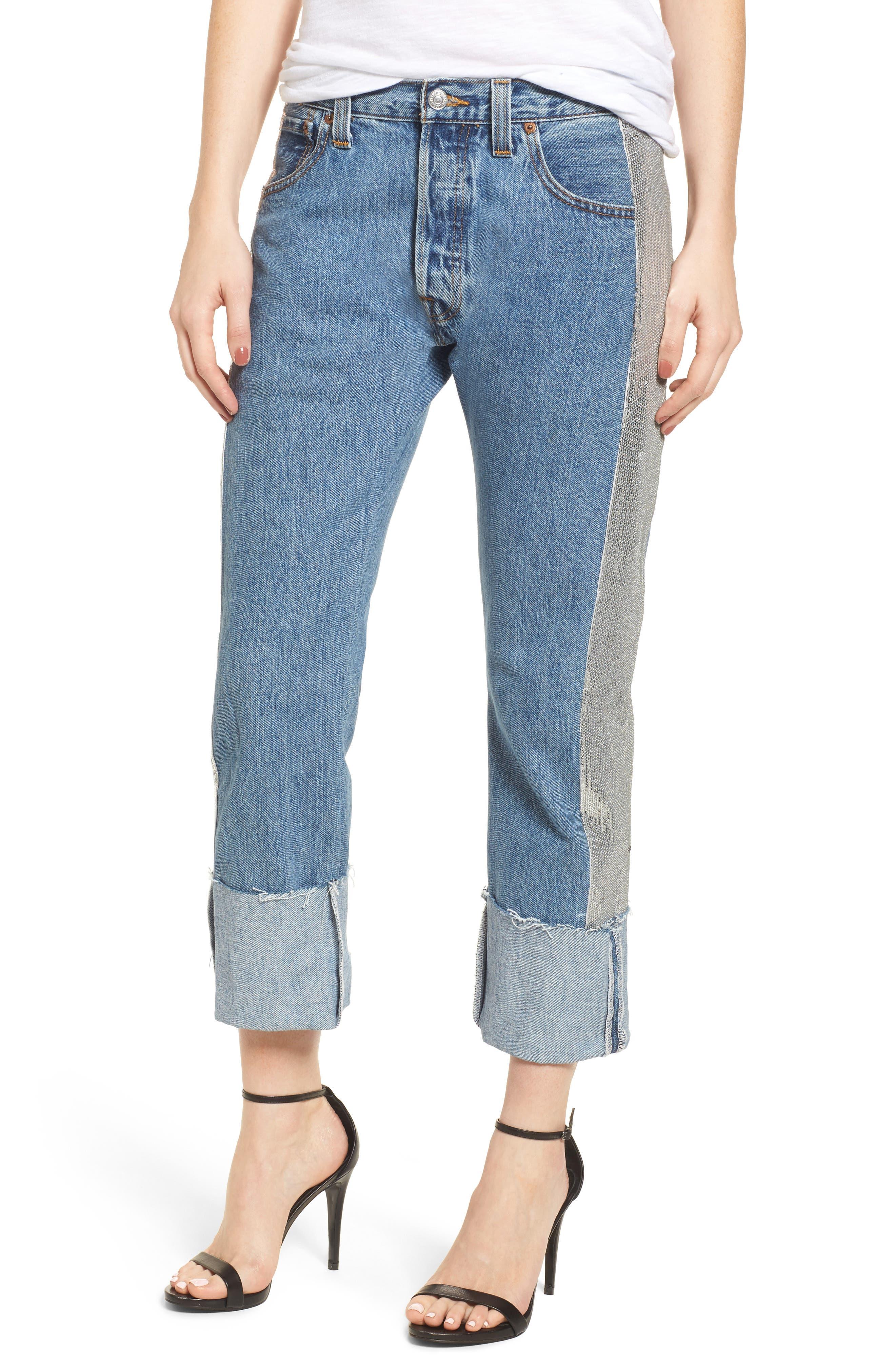 Sequin Boyfriend Jeans,                             Main thumbnail 1, color,                             Medium Wash/ Silver