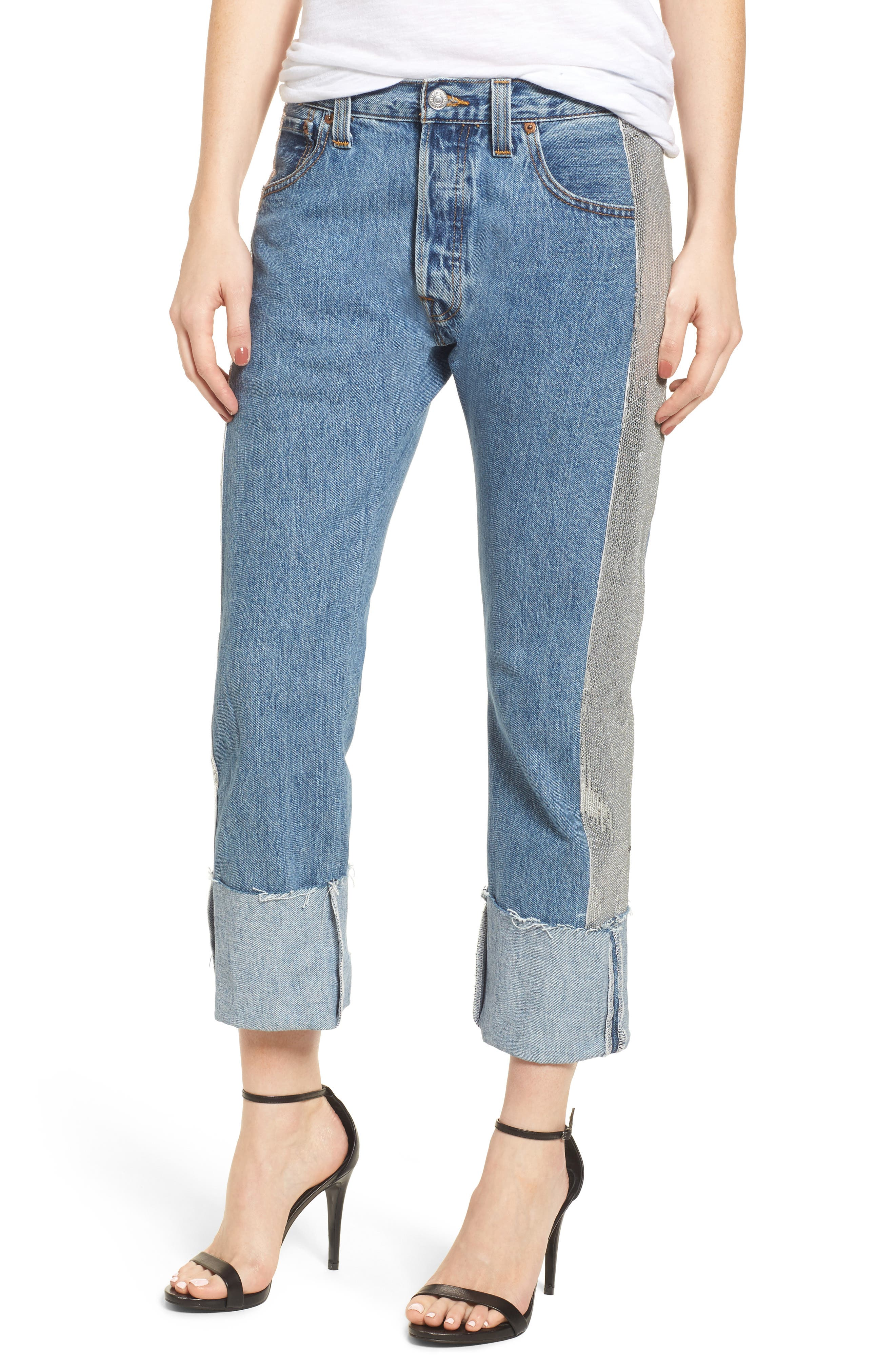 Sequin Boyfriend Jeans,                         Main,                         color, Medium Wash/ Silver