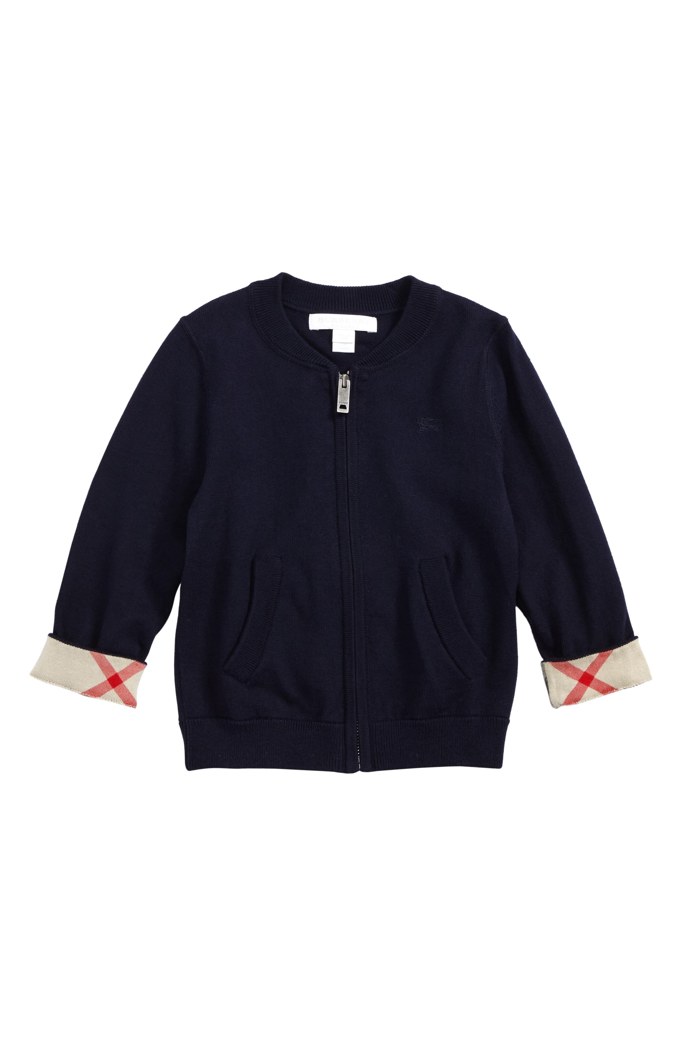 Burberry Mini Jaxson Front Zip Cotton Cardigan (Baby Boys)