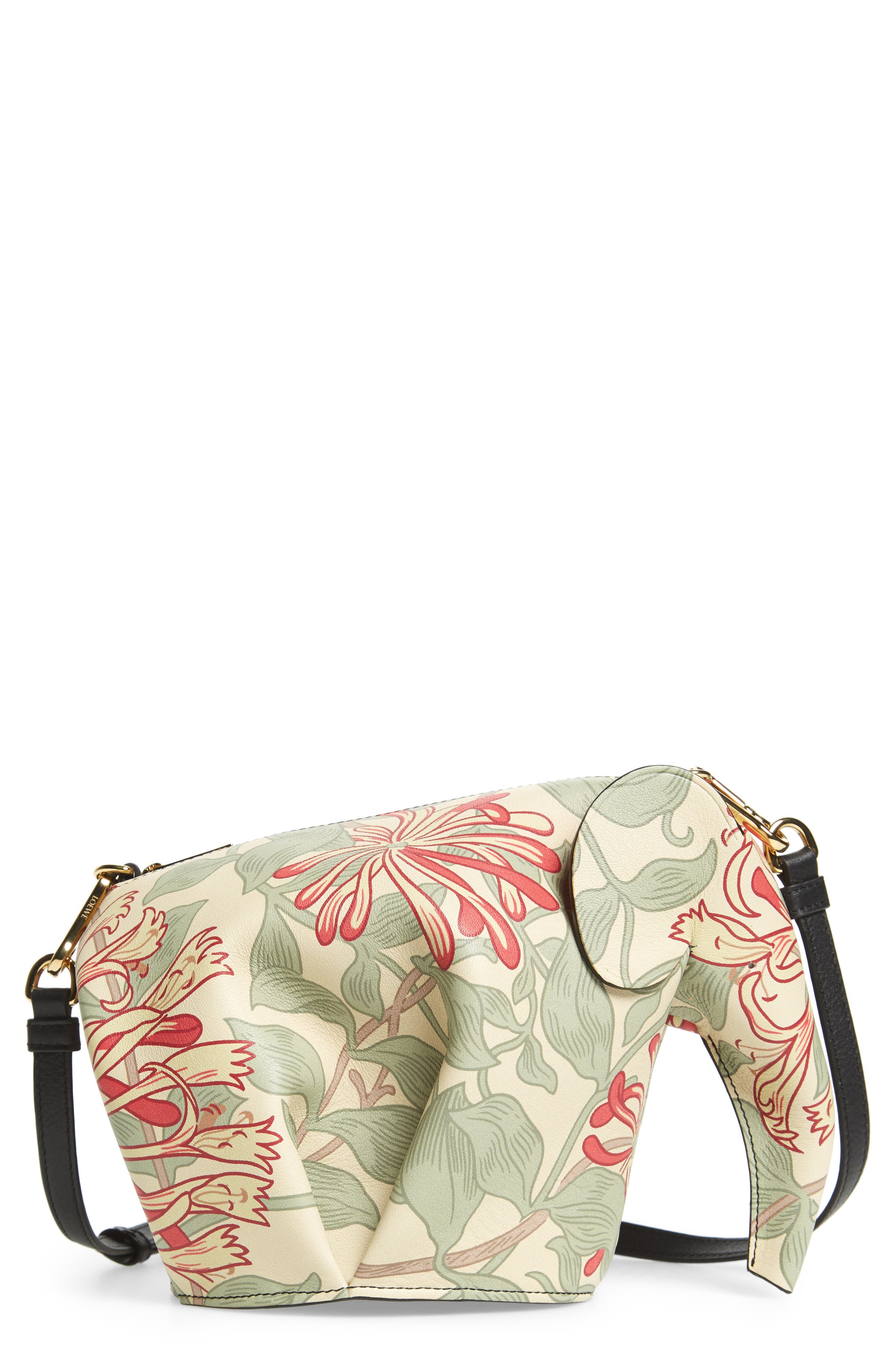 Mini Elephant Honeysuckle Print Leather Crossbody Bag,                             Main thumbnail 1, color,                             Beige/ Green/ Multicolour