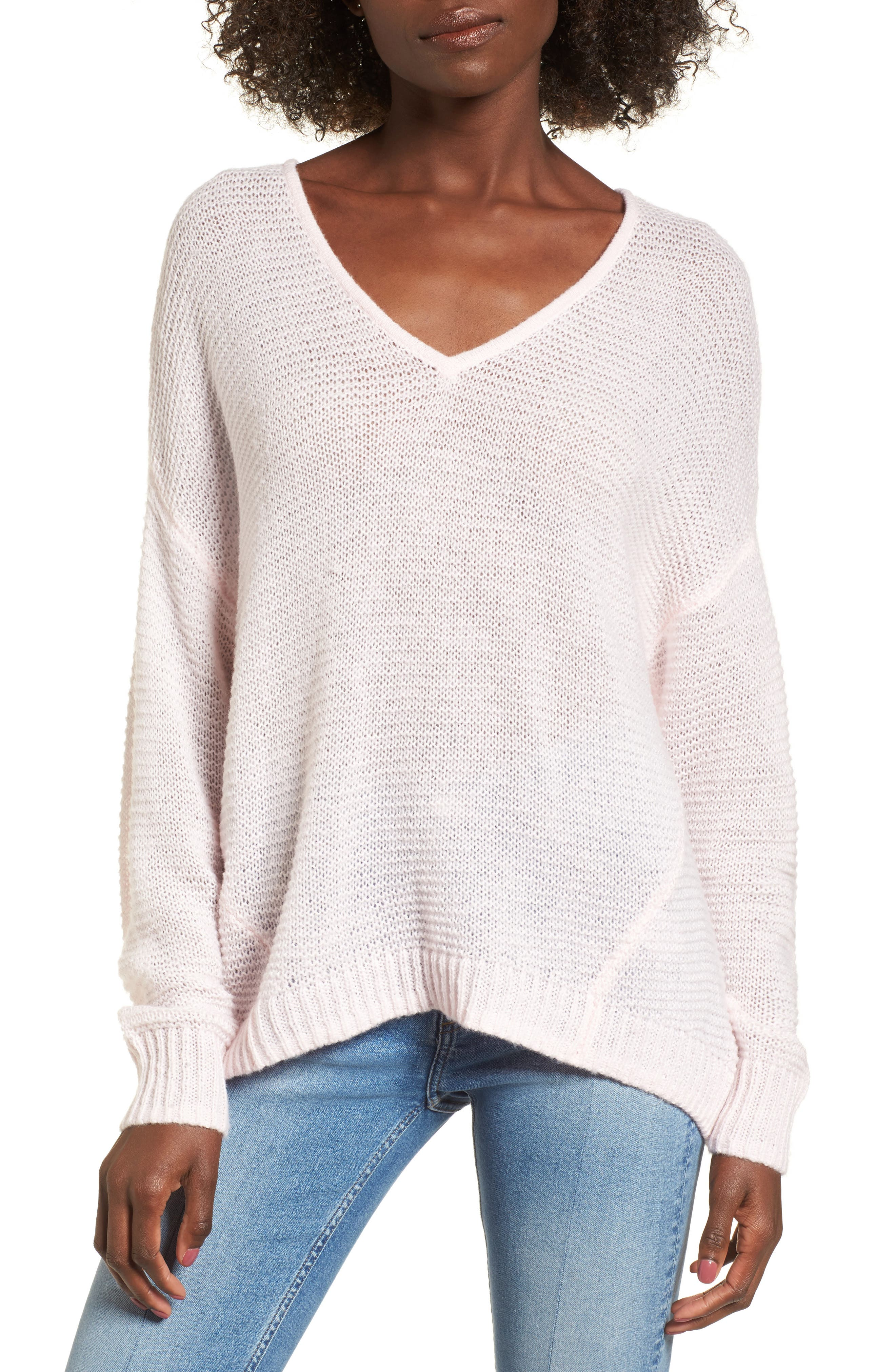 Double V Sweater,                         Main,                         color, Pink Breath