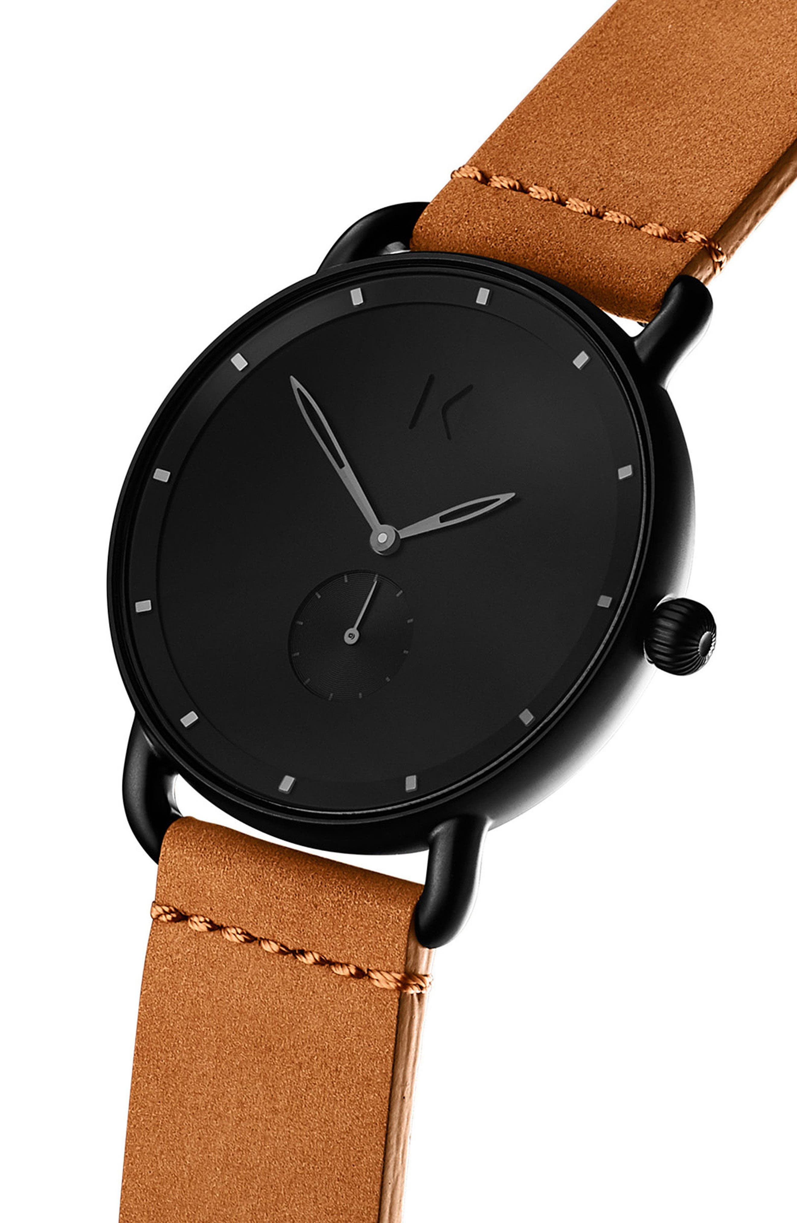 Revolver Wilde Leather Strap Watch, 41mm,                             Alternate thumbnail 3, color,                             Black/ Saddle