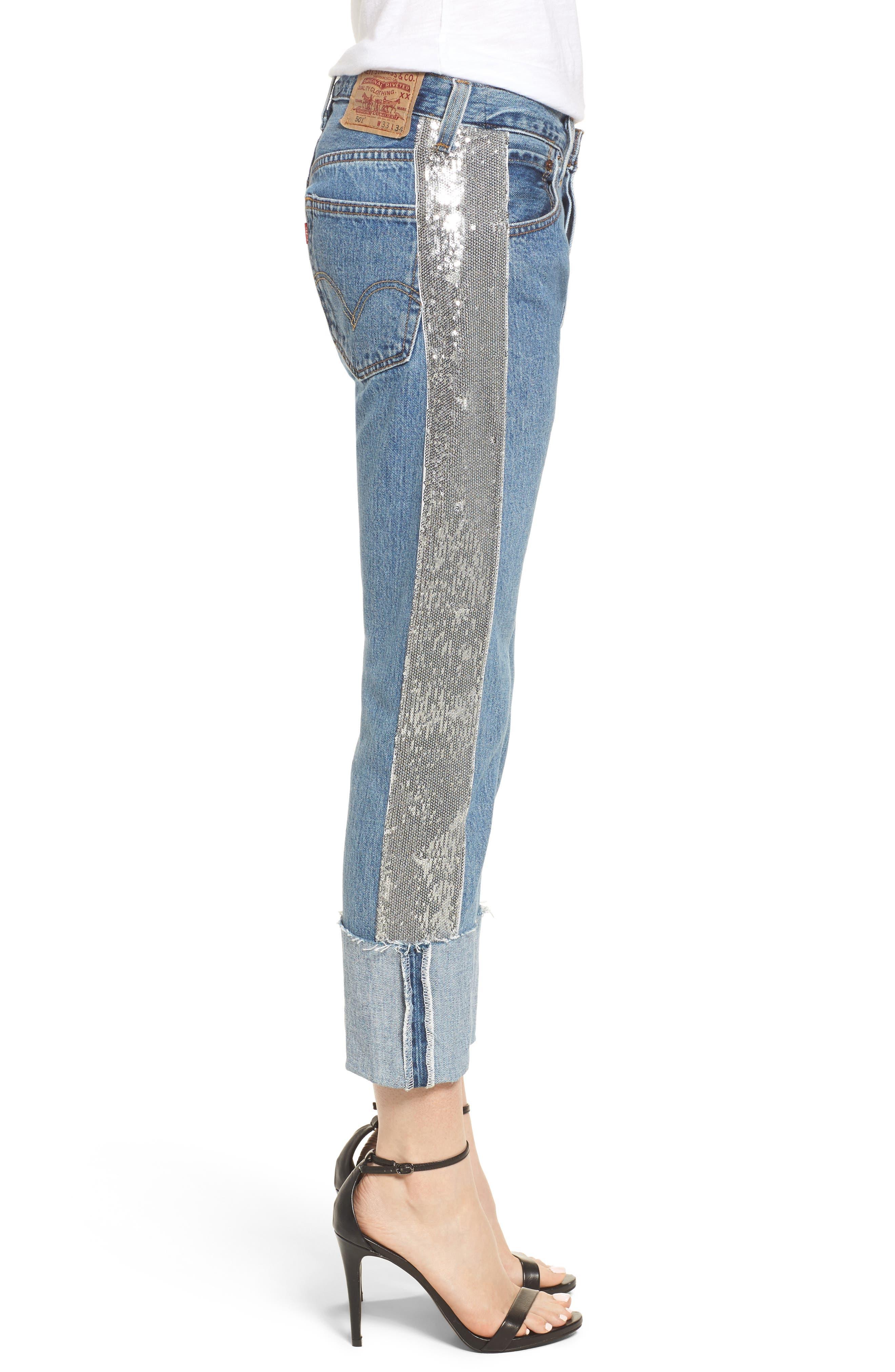 Sequin Boyfriend Jeans,                             Alternate thumbnail 3, color,                             Medium Wash/ Silver