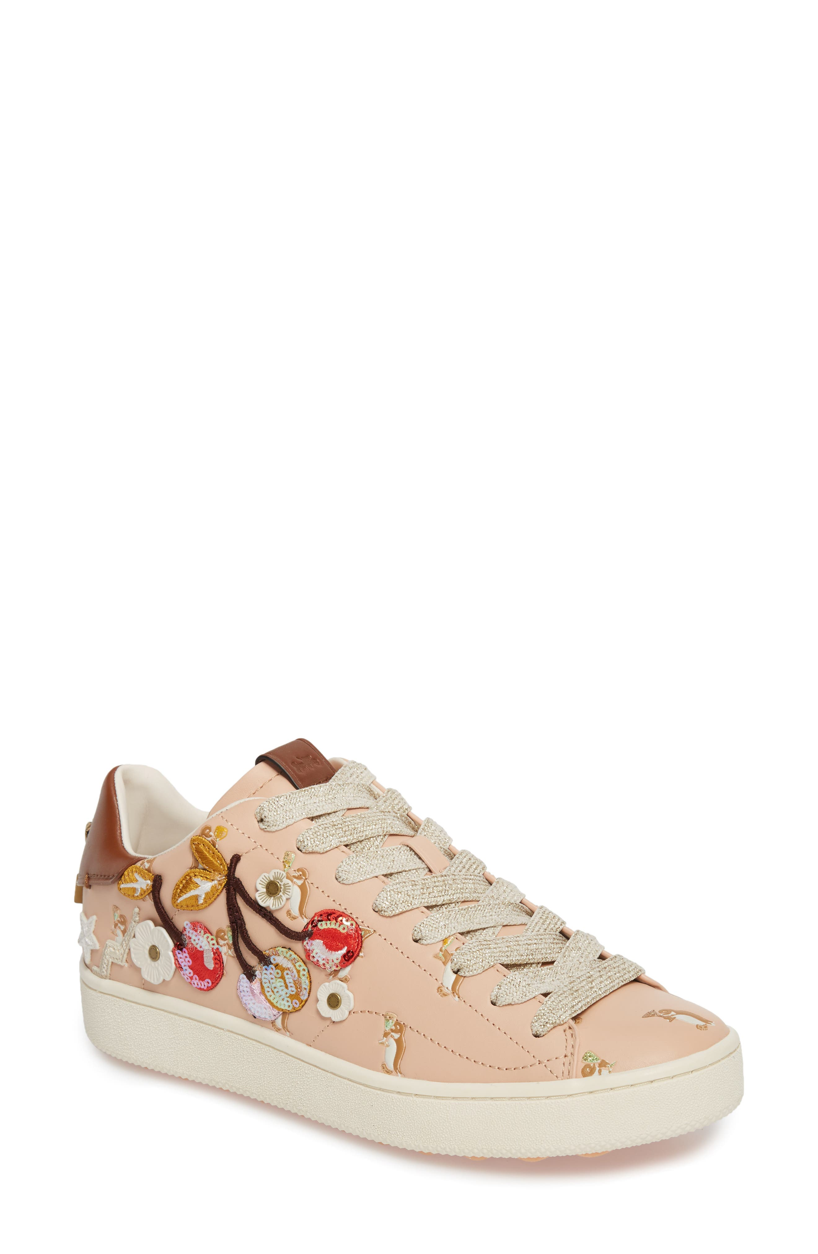 Patch Sneaker,                         Main,                         color, Light Pink Leather