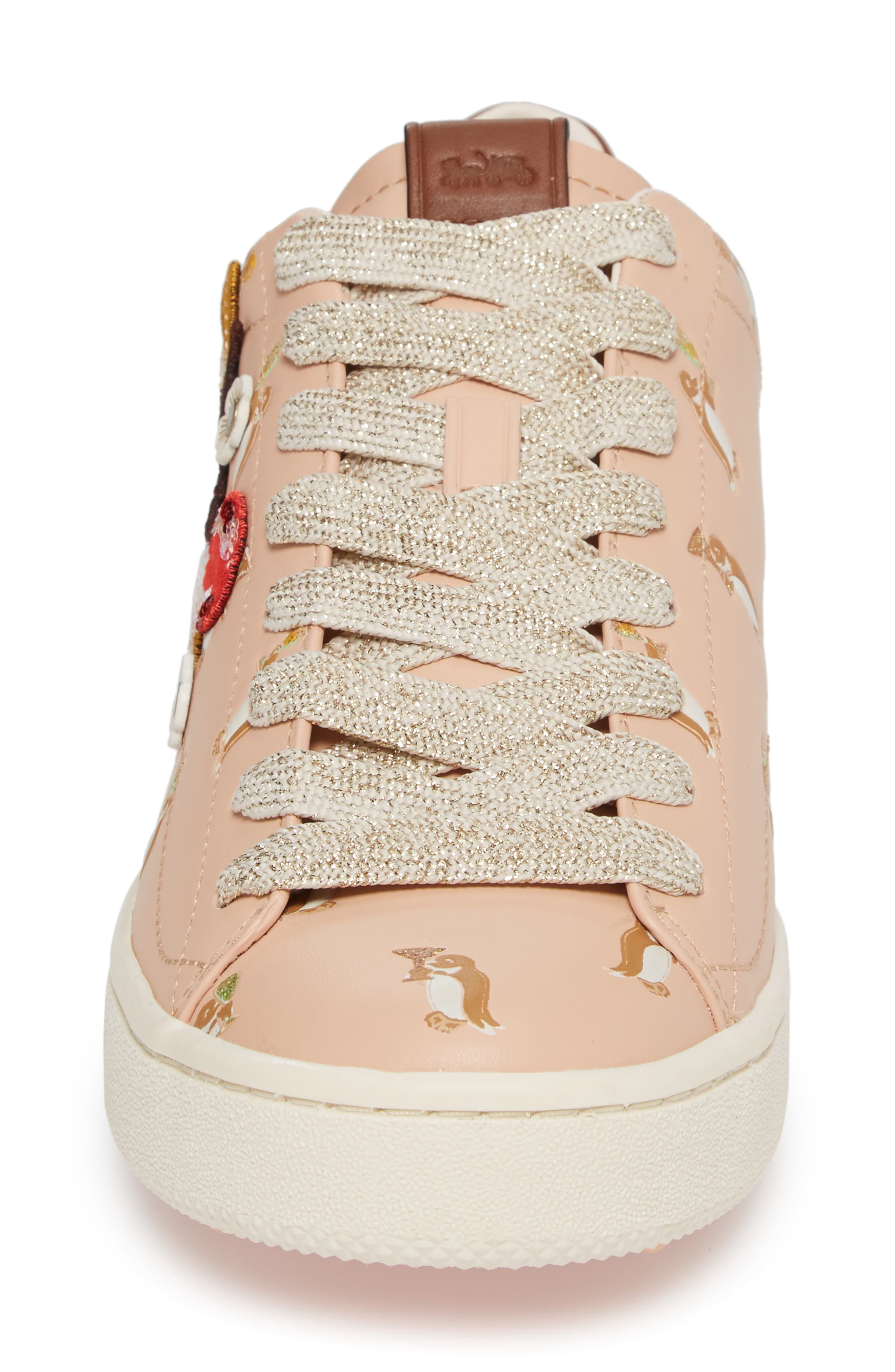 Patch Sneaker,                             Alternate thumbnail 4, color,                             Light Pink Leather