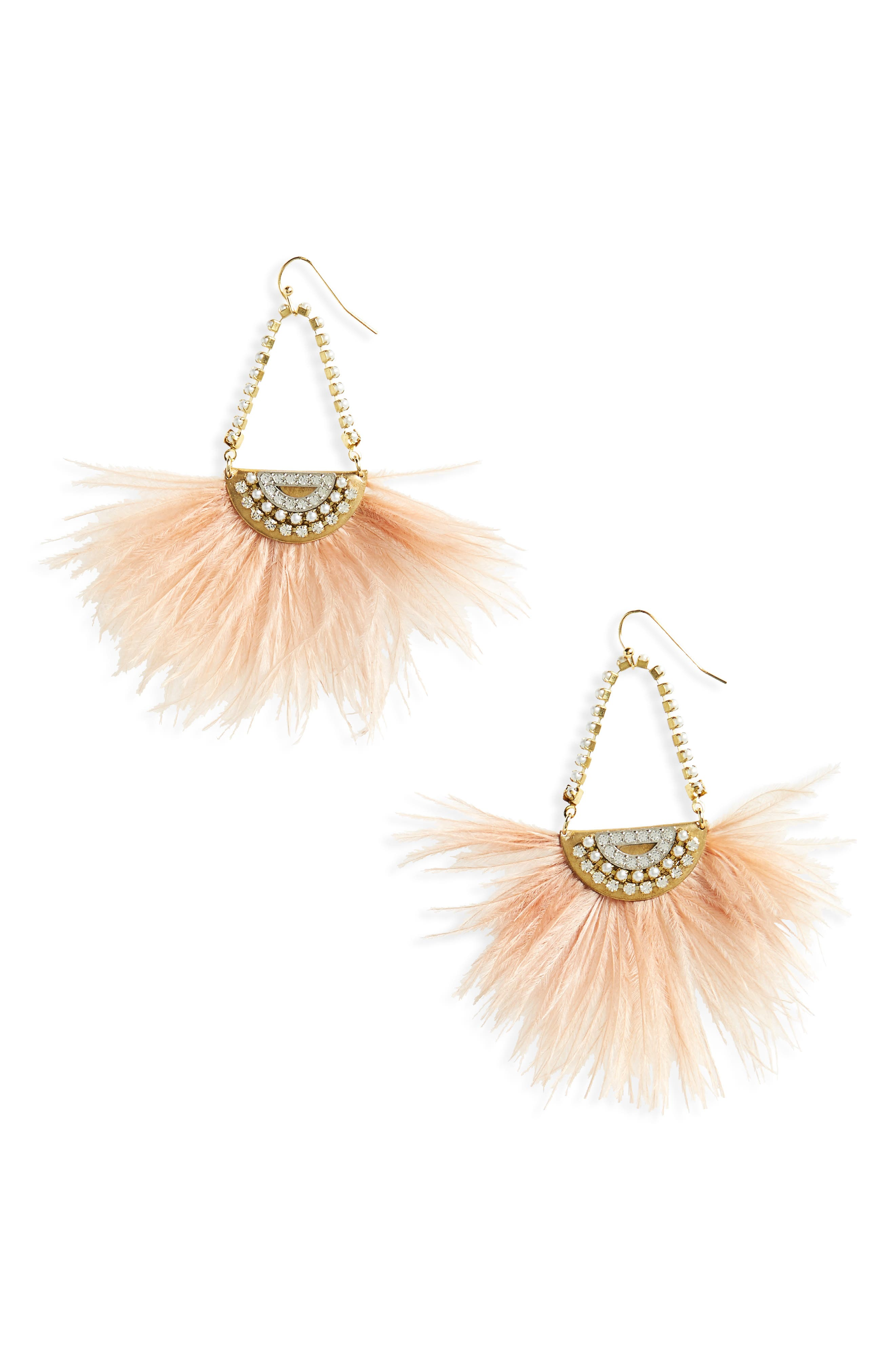 Pearl Feather Earrings,                         Main,                         color, Blush/ Gold