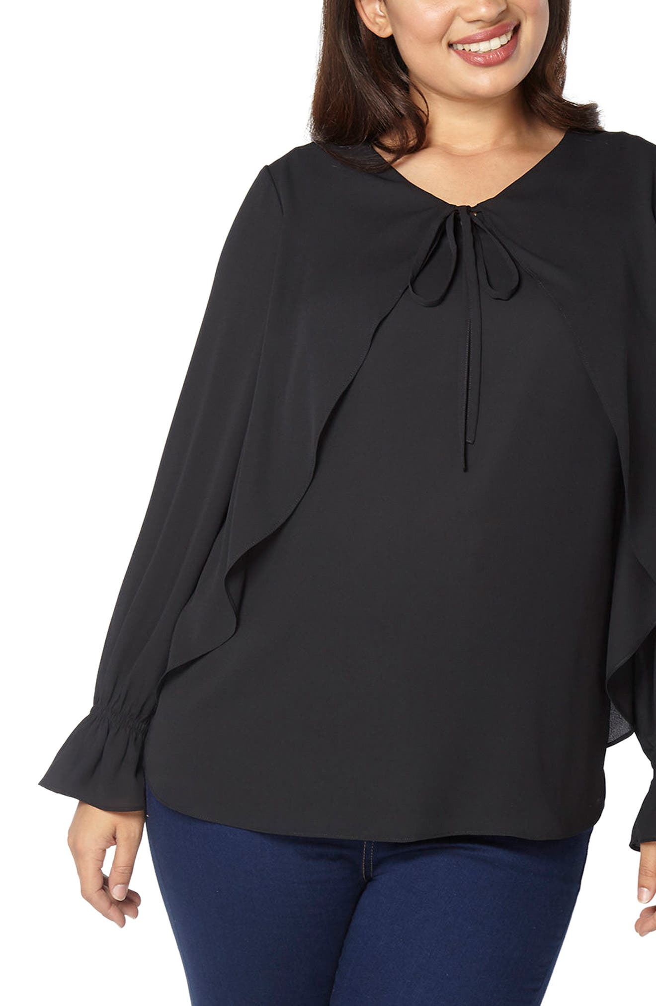 Tie Neck Bell Sleeve Blouse,                         Main,                         color, Black