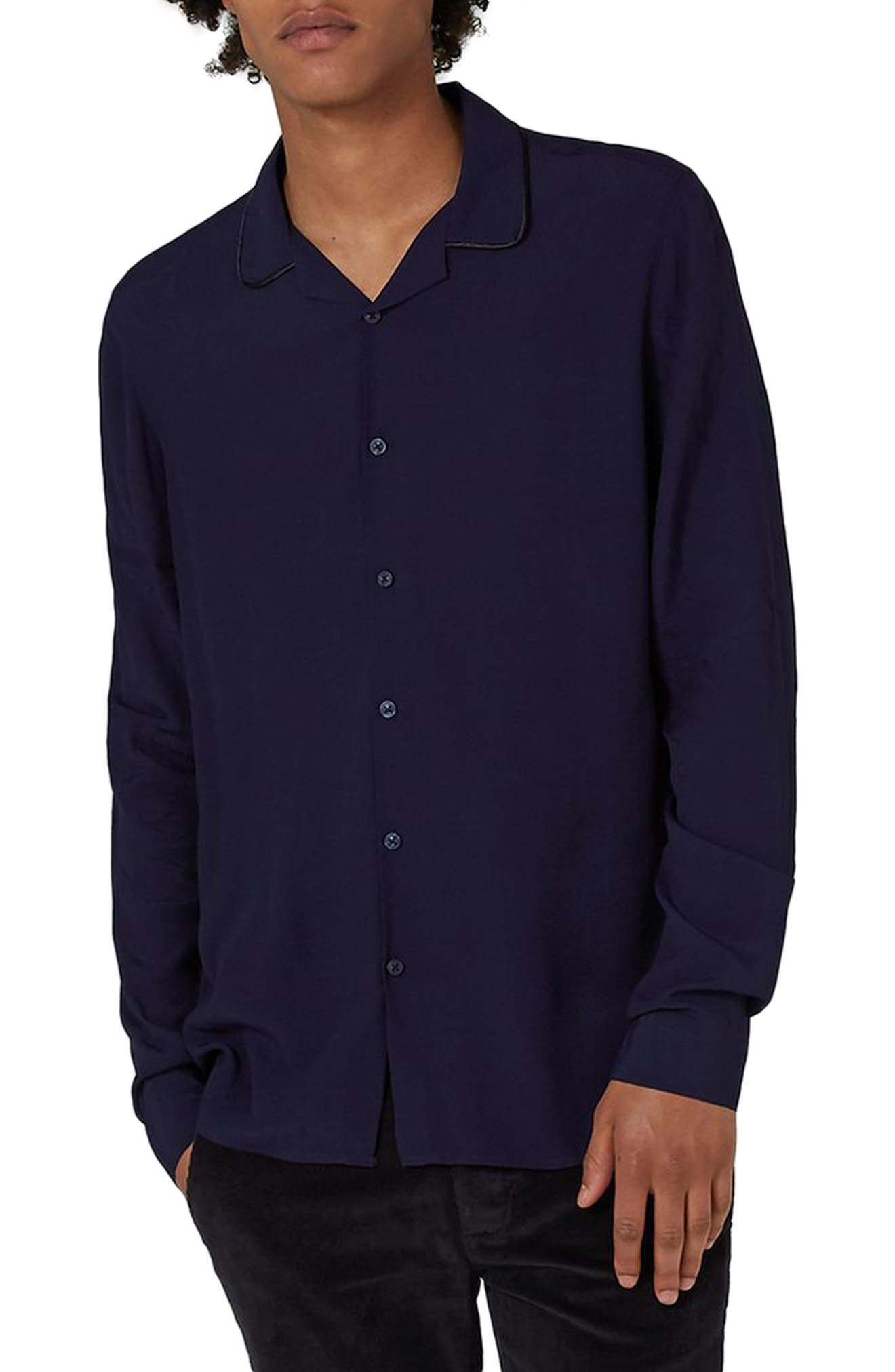 Piped Crepe Shirt,                         Main,                         color, Navy Blue
