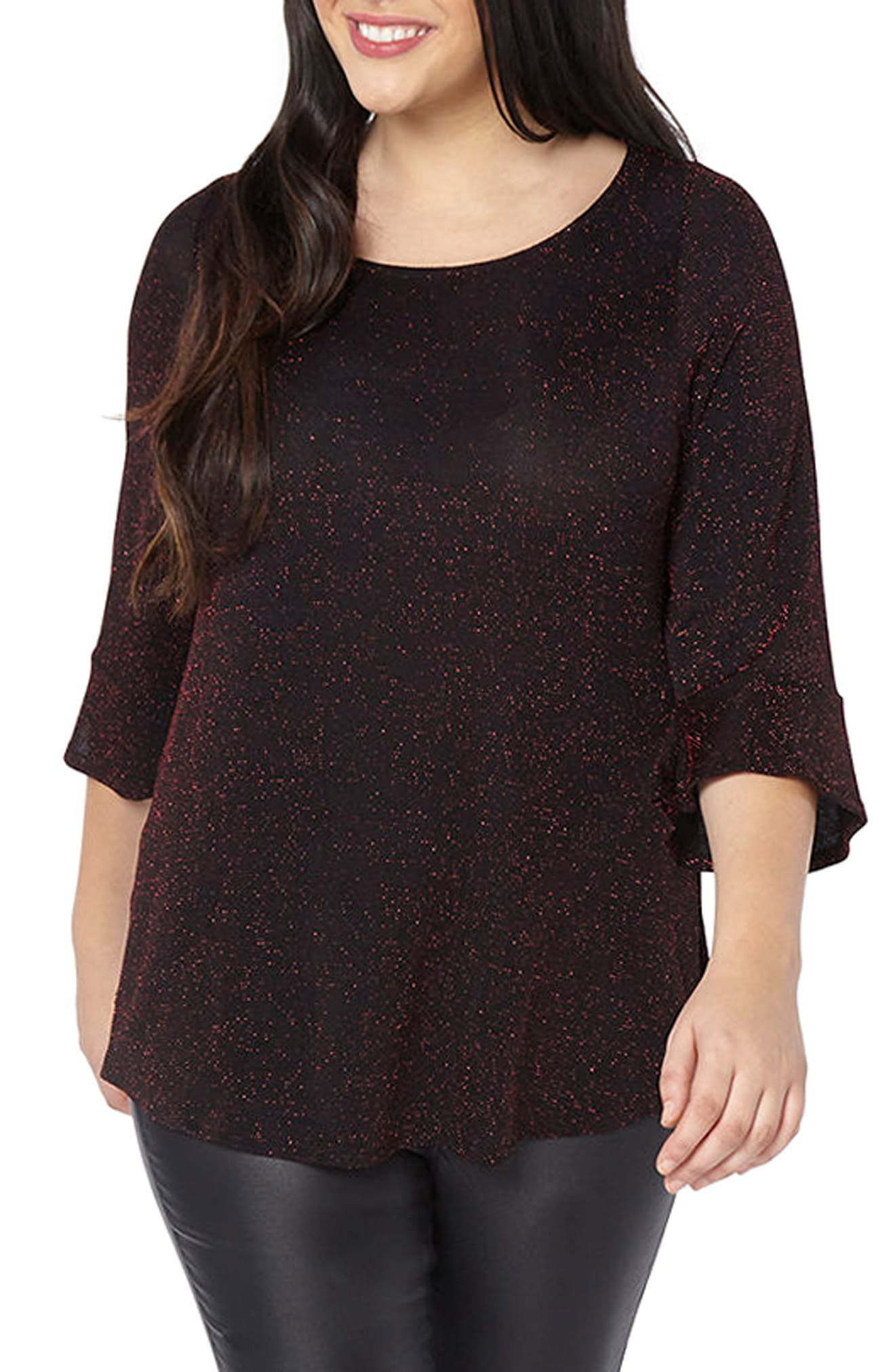 Main Image - Evans Glitter Bell Sleeve Top (Plus Size)